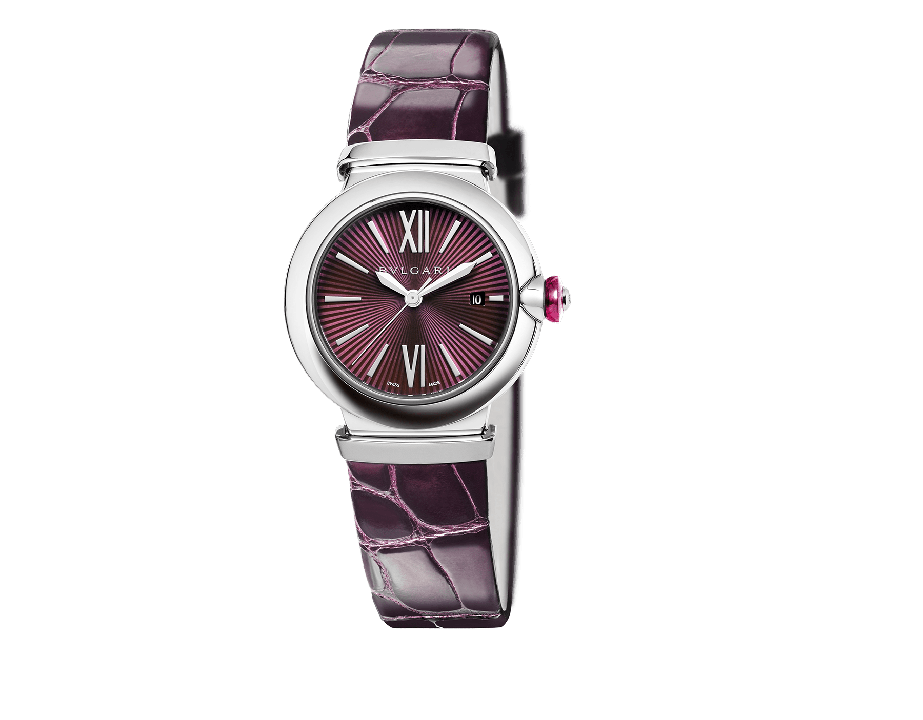 LVCEA watch with stainless steel case, violet dial and purple alligator bracelet. 102495 image 1