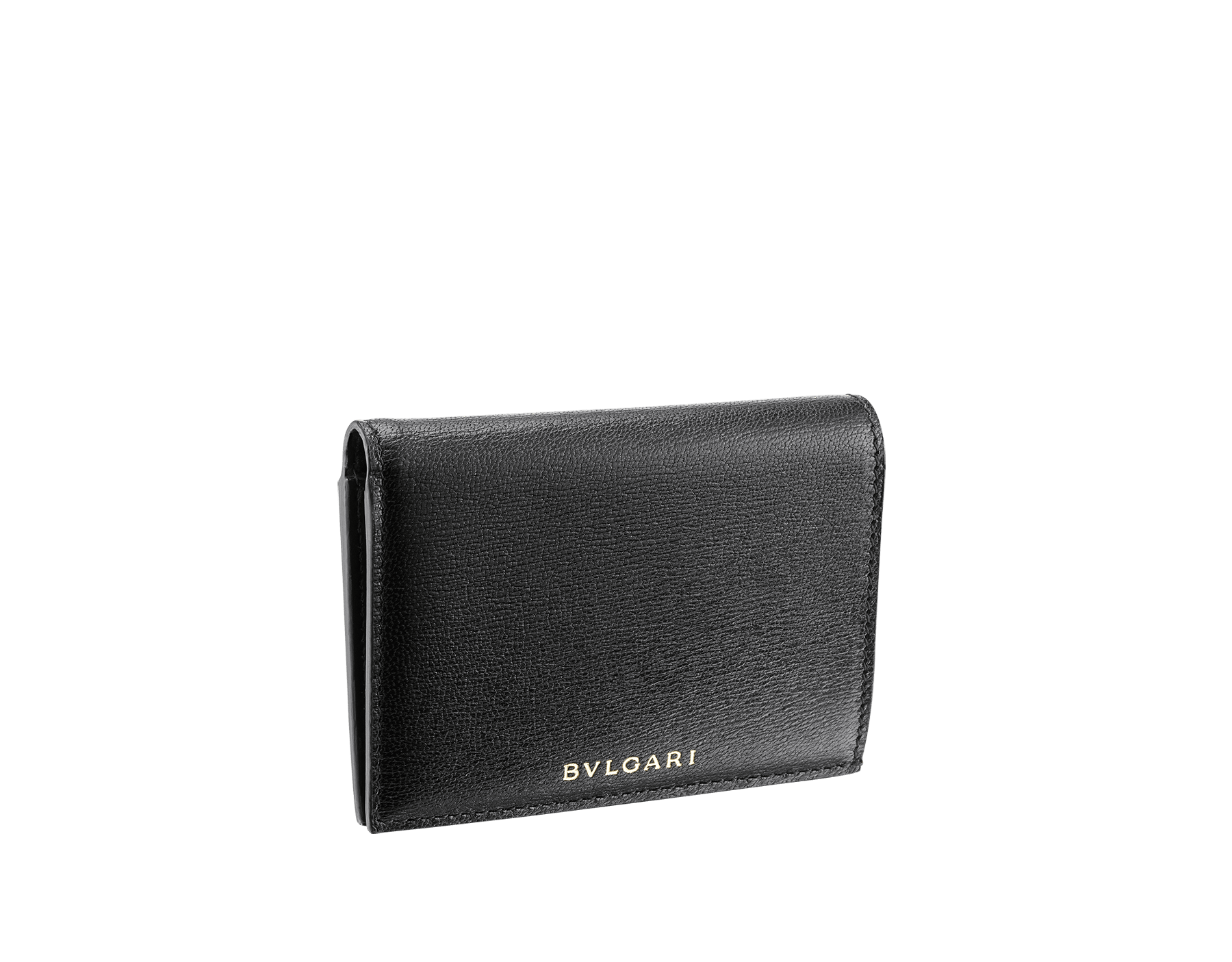 B.zero1 double folded credit card holder in black goatskin. Iconic B.zero1 charm in light gold plated brass. 289150 image 1