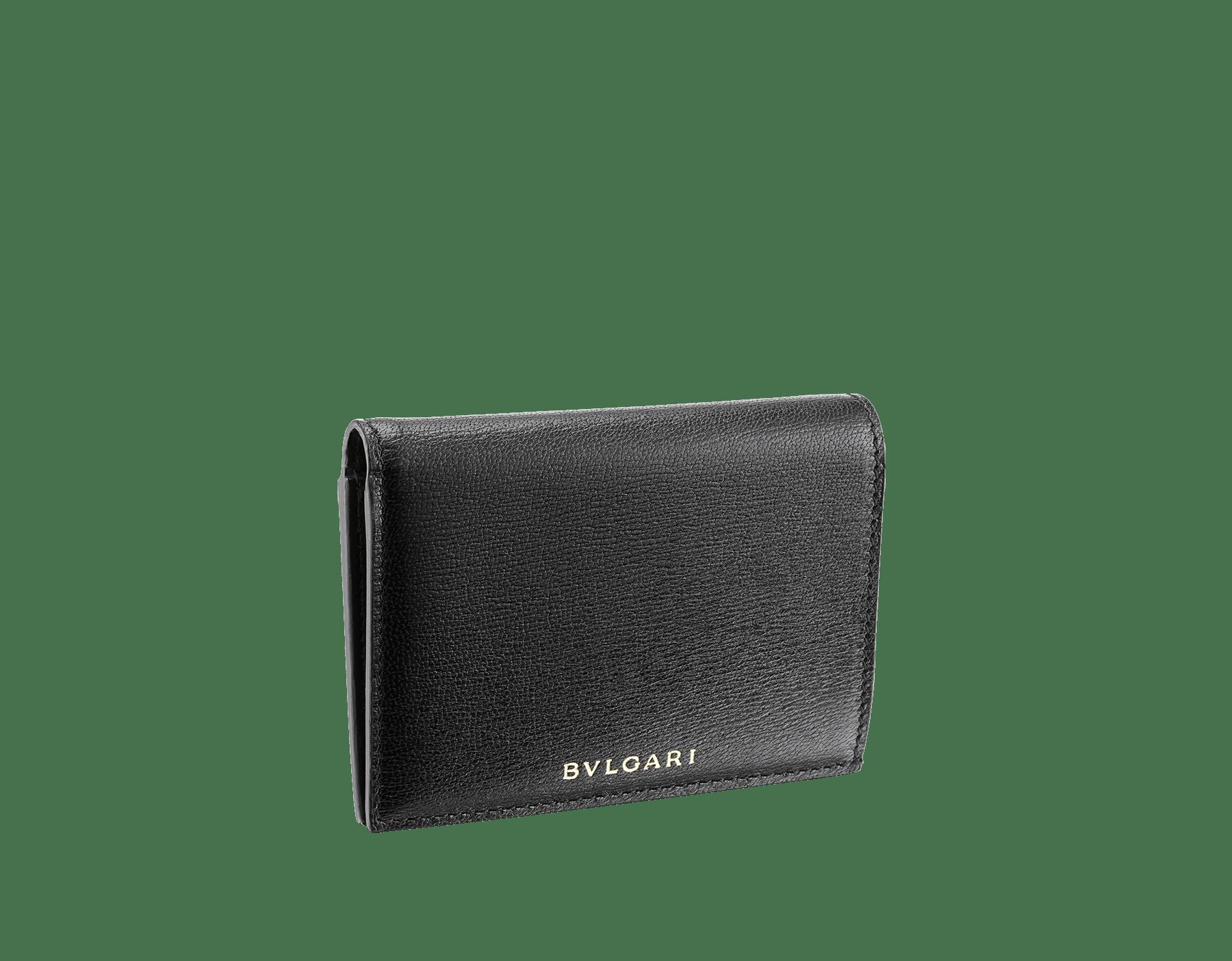 Étui pour cartes de crédit à deux volets B.zero1 en cuir de chèvre noir. Emblématique bijou B.zero1 en laiton doré. 289150 image 1