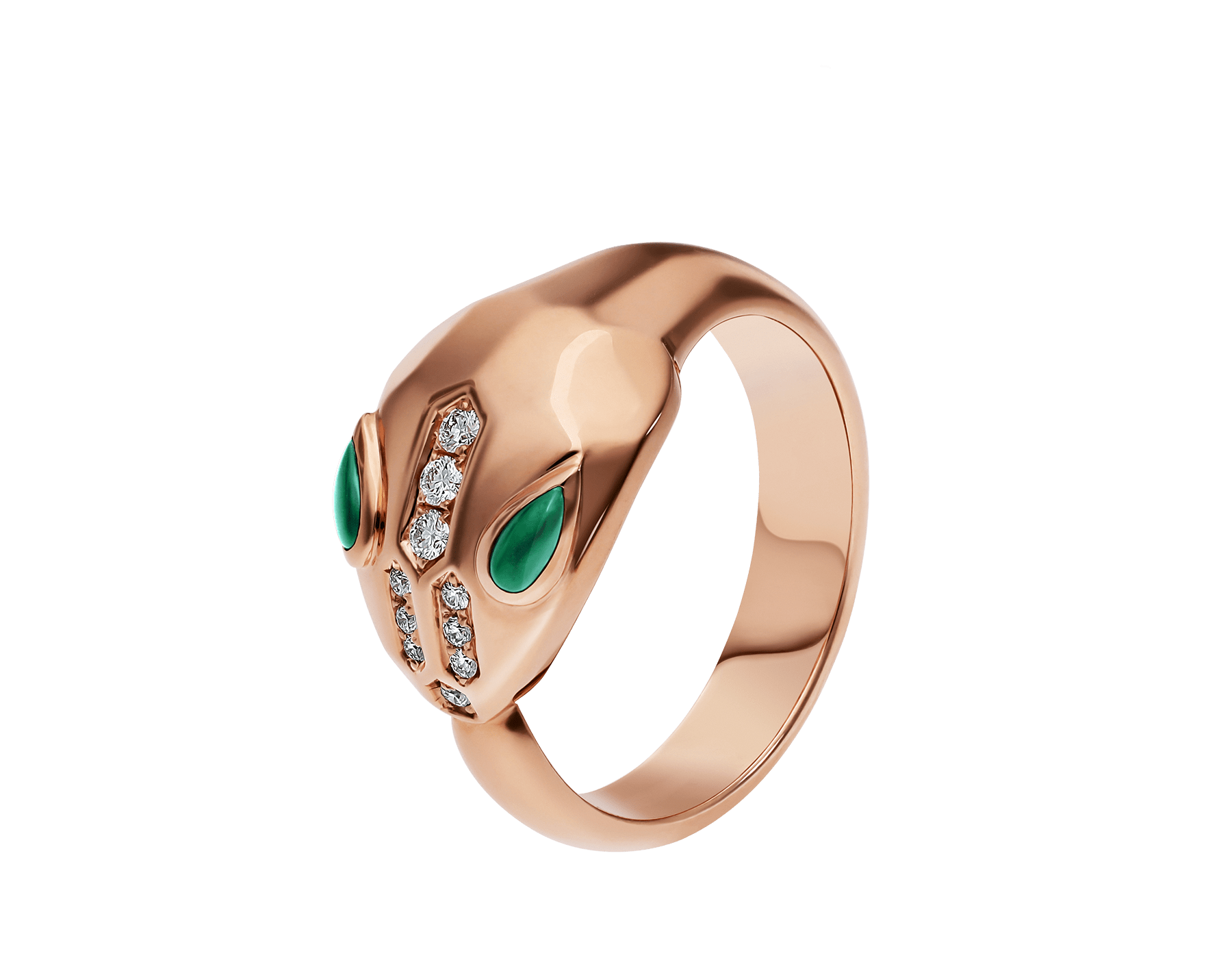 Serpenti ring in 18 kt rose gold, set with malachite eyes and demi pavé diamonds. AN857802 image 1
