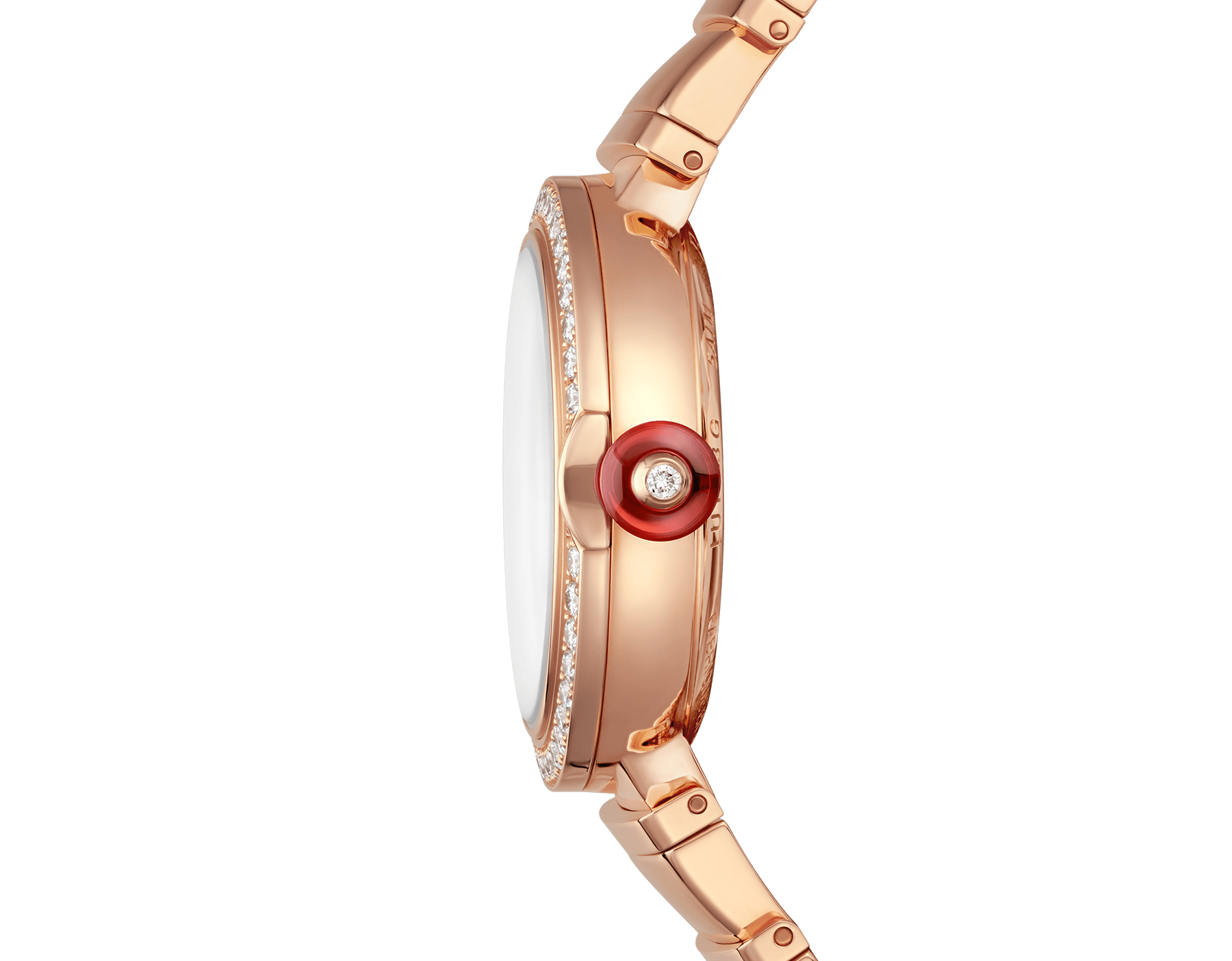 LVCEA watch with 18 kt rose gold and brilliant-cut diamond case, black opaline dial and 18 kt rose gold bracelet. 102260 image 3