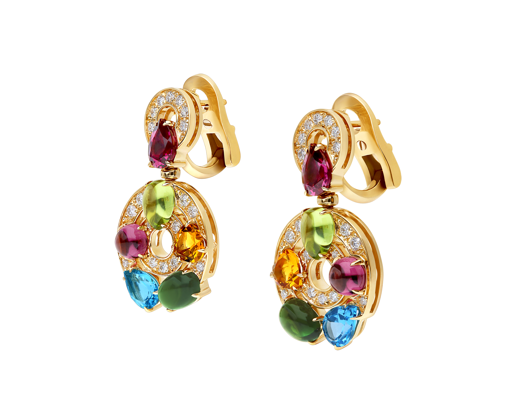 Cerchi 18kt yellow gold earrings set with blue topazes, green tourmalines, peridots, citrine quartz, rhodolite garnets and pavé diamonds 339141 image 2