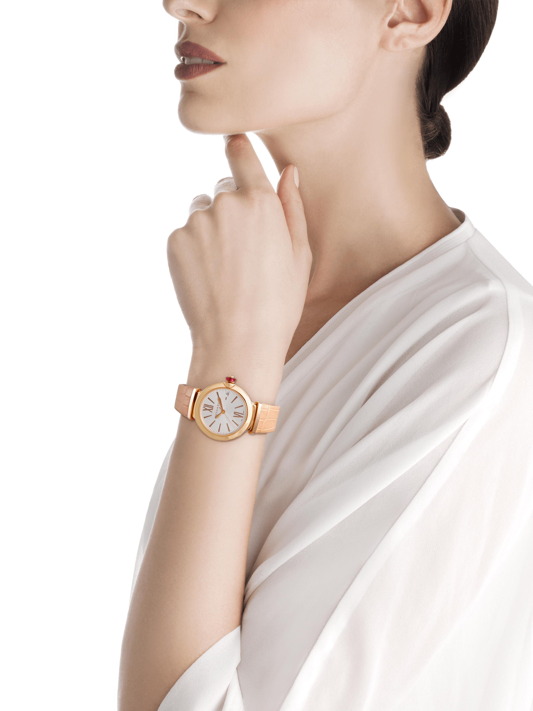 LVCEA watch with 18 kt rose gold case, silver opaline dial and powder pink alligator bracelet. 102328 image 2