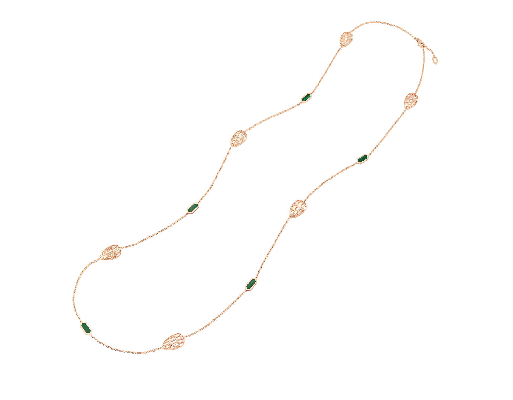 Serpenti sautoir in 18 kt rose gold set with malachite elements. 352677 image 2
