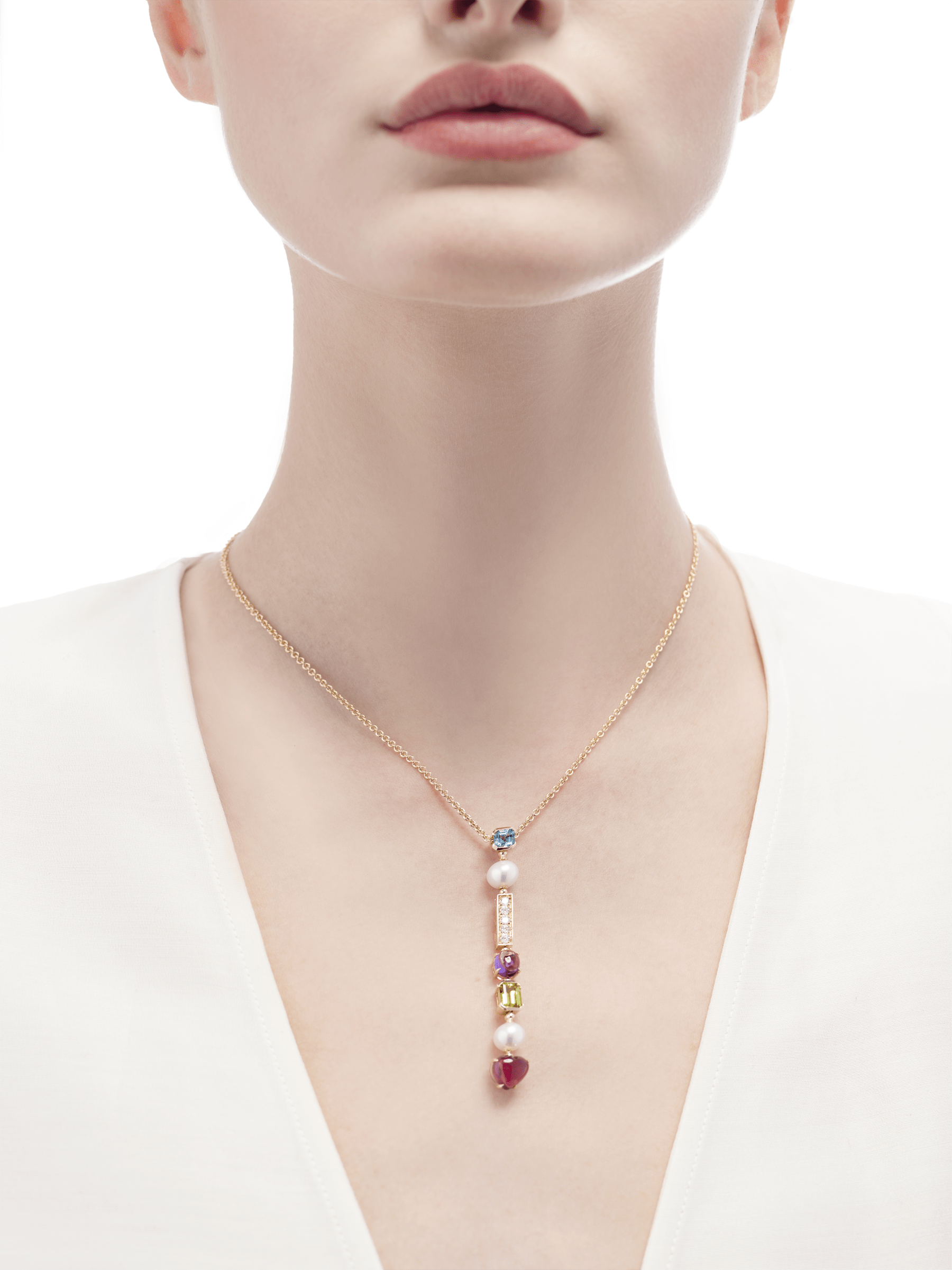 Allegra 18 kt yellow gold pendant necklace set with pink tourmaline, peridot, amethyst, blue topaz, Akoya cultured pearls and pavé diamonds 334667 image 2