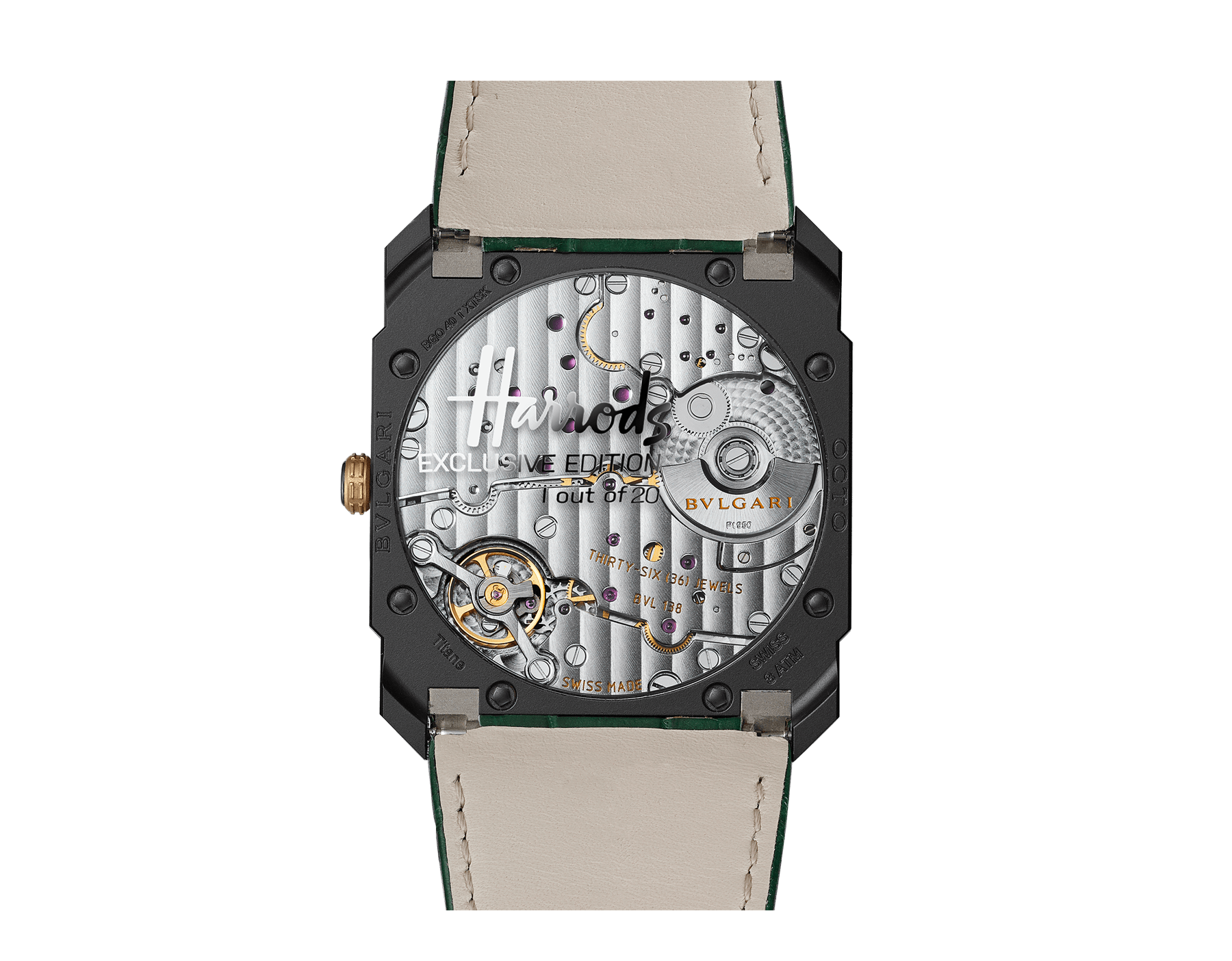 Octo Finissimo Automatic watch with extra-thin mechanical manufacture movement, automatic winding with platinum microrotor, small seconds, 40 mm titanium case with Diamond Like Carbon treatment, transparent case back, green dial and green alligator bracelet. Water-resistant up to 30 metres 103151 image 2