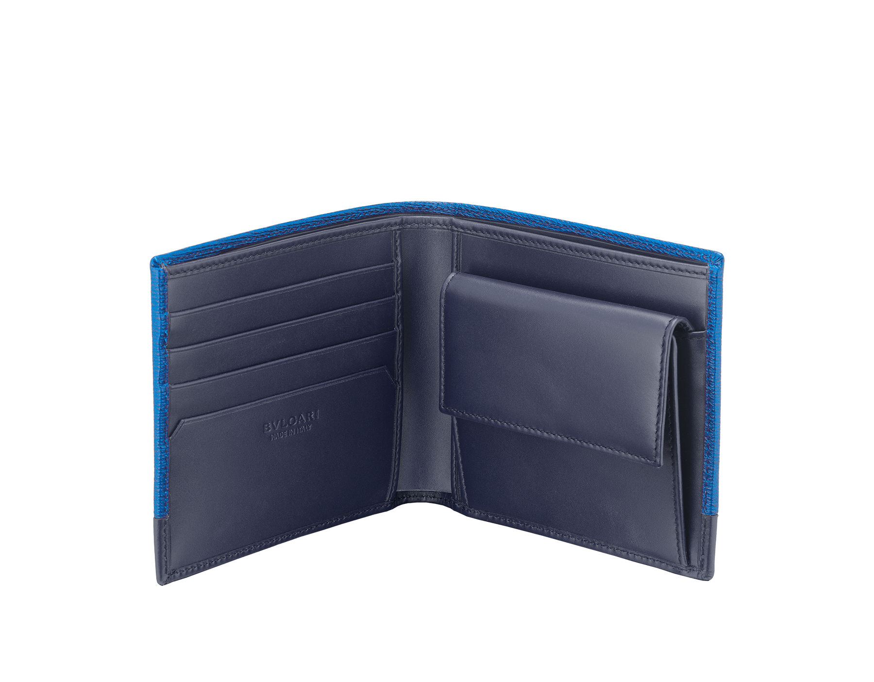 Serpenti Scaglie men's wallet in cobalt tourmaline grazed calf leather and dark denim calf leather. Bvlgari logo engraved on the hexagonal scaglie metal plate finished in dark ruthenium. 288603 image 2
