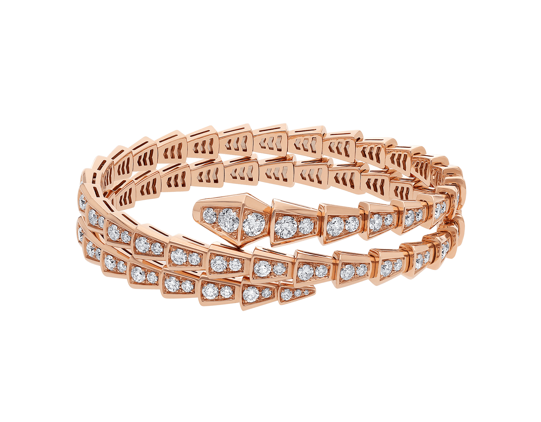 Serpenti Viper two-coil 18 kt rose gold bracelet, set with pavé diamonds BR858796 image 2