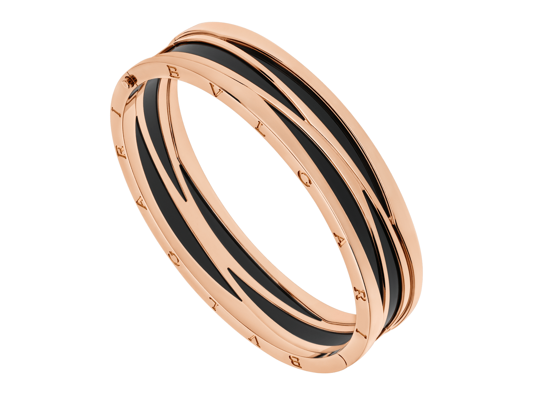 B.zero1 18 kt rose gold bracelet with black ceramic. BR858729 image 1