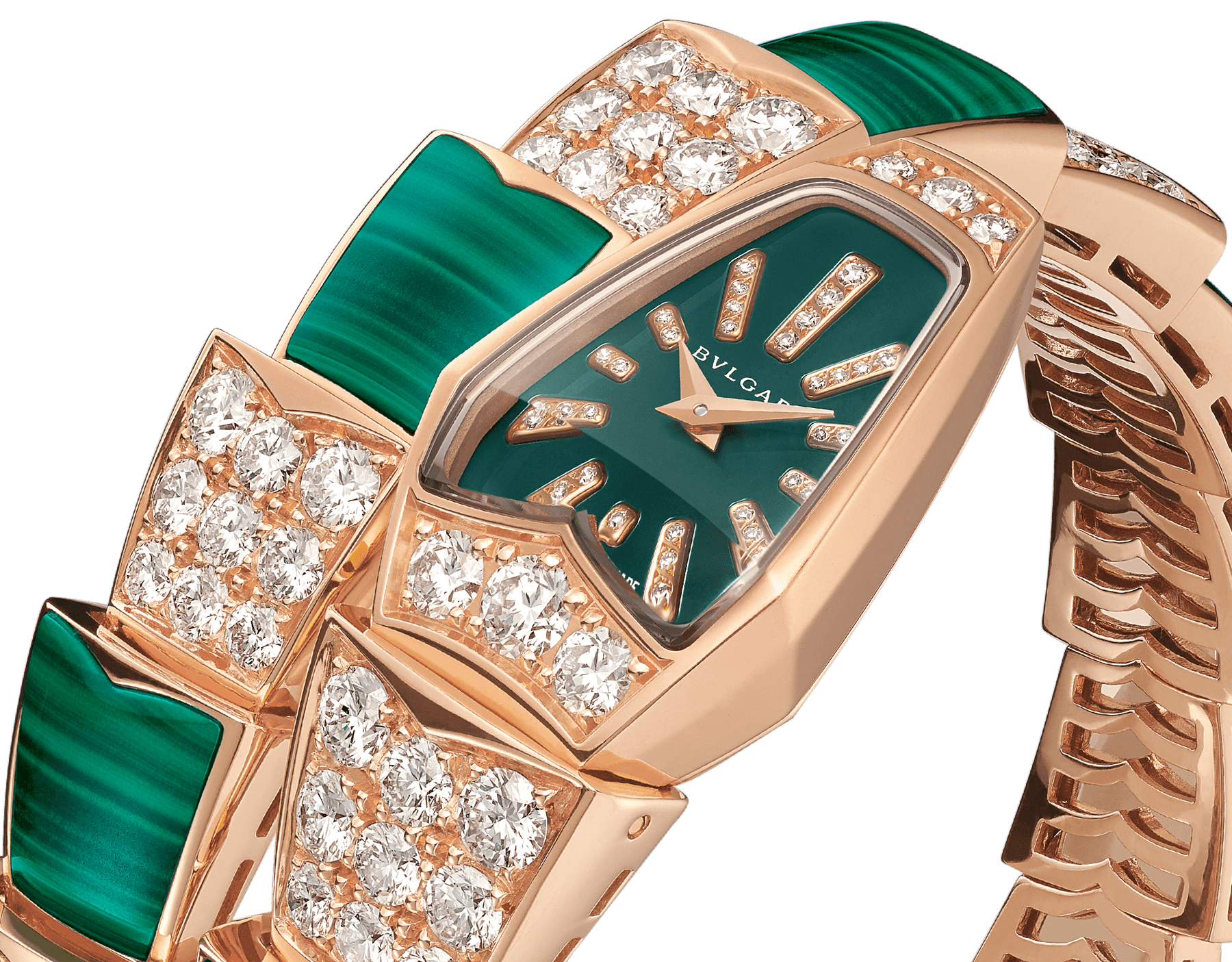 Serpenti Jewellery Watch with 18 kt rose gold case set with brilliant cut diamonds, green lacquered dial, diamond indexes and 18 kt rose gold single spiral bracelet set with brilliant cut diamonds and malachite elements. 102678 image 2