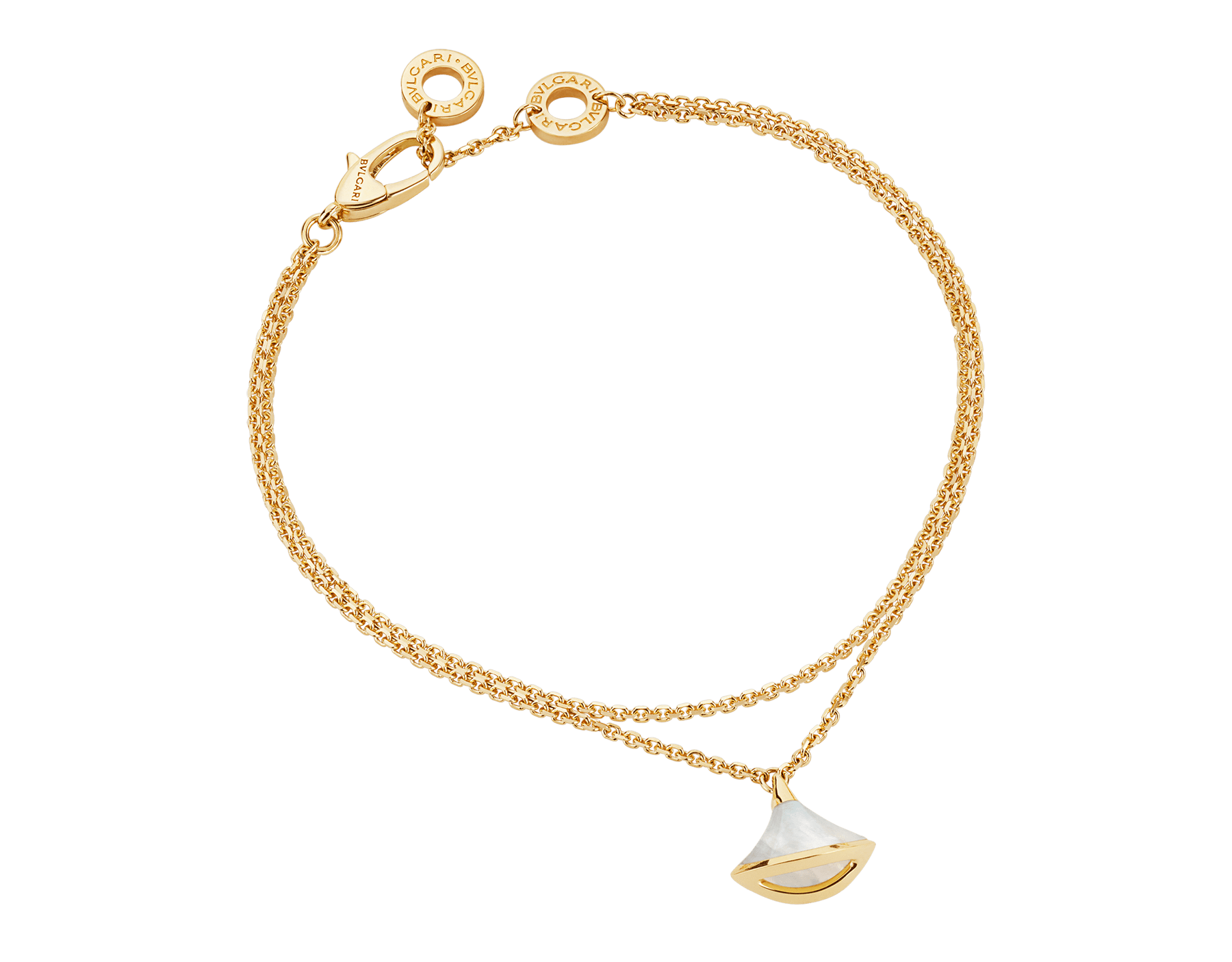 DIVAS' DREAM 18 kt yellow gold bracelet with pendant set with a mother-of-pearl element BR858988 image 2