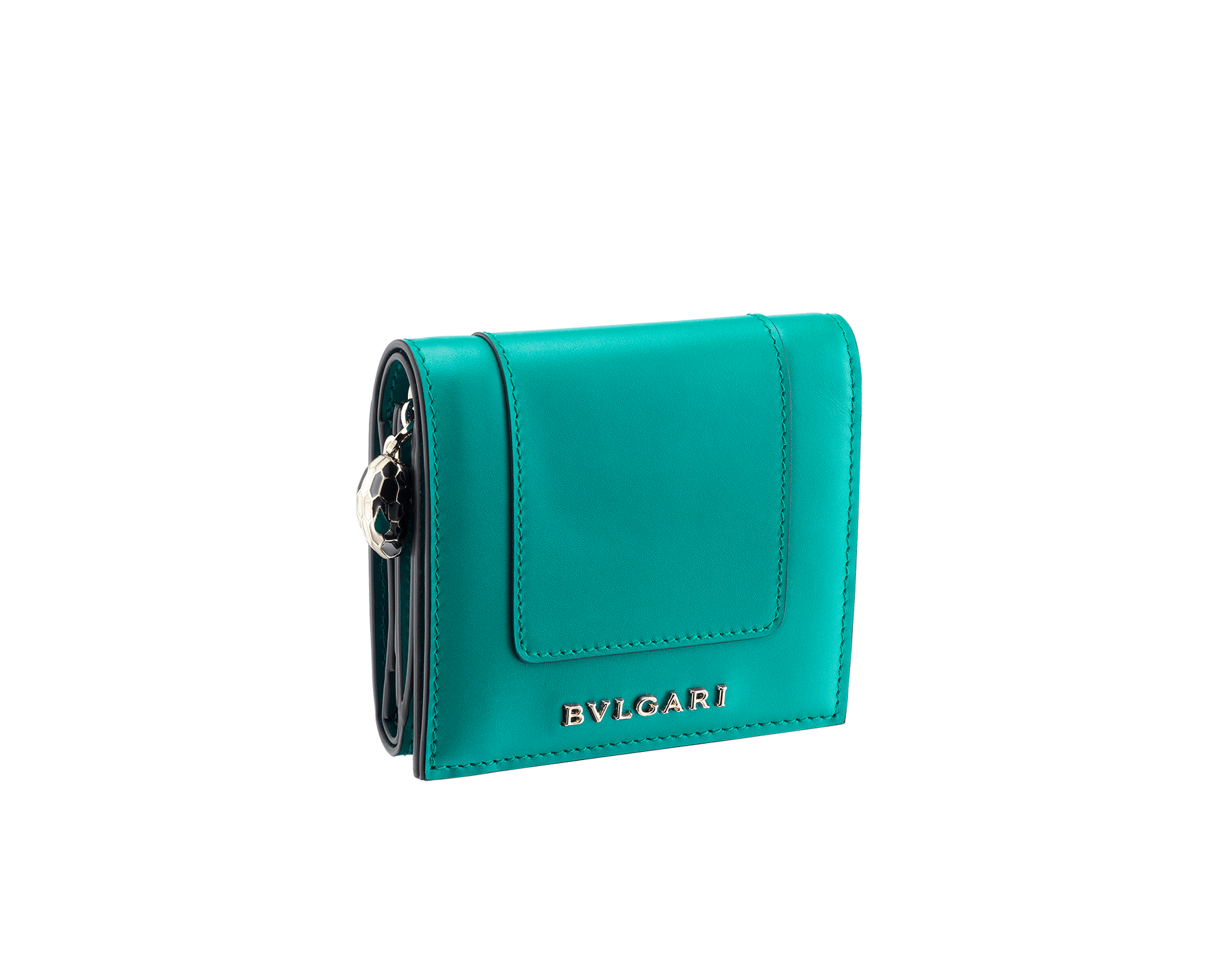 Serpenti Forever super compact wallet in tropical tourquoise and deep jade calf leather. Iconic snakehead stud closure in black and white enamel, with green malachite enamel eyes. 288038 image 1