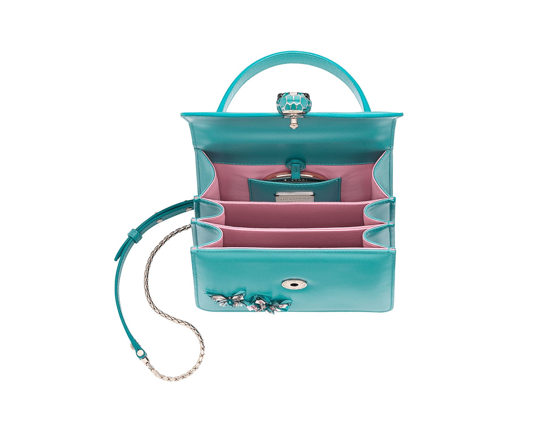 """""""Serpenti Forever """" crossbody bag in silky coral calf leather with two silky coral butterflies embroidered. Iconic snakehead closure in light gold plated brass enriched with silky coral and white agate enamel and black onyx eyes. 752-BF image 4"""