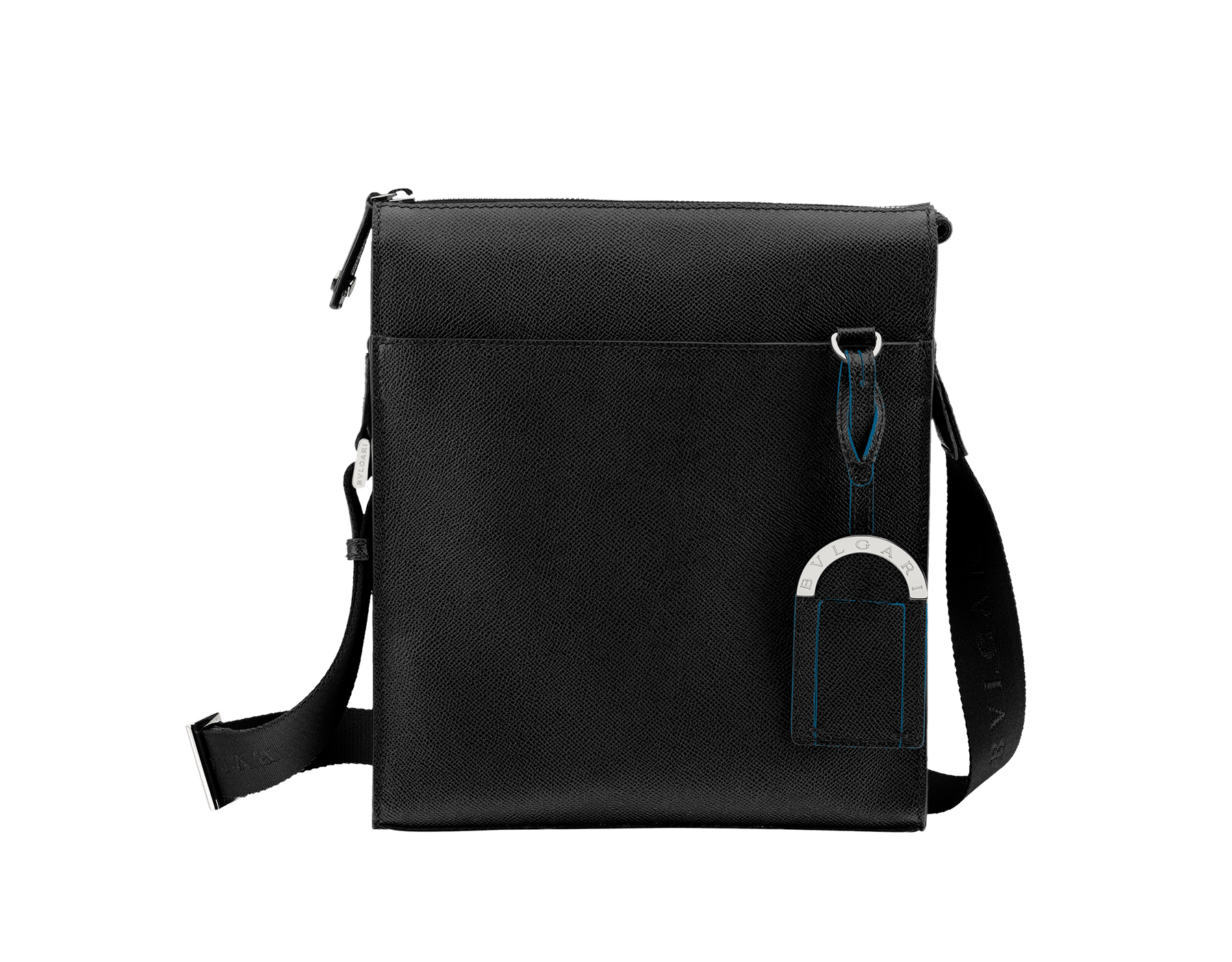 Black grain calf leather zip-top messenger bag with brass palladium hardware, two open pockets and the Bulgari logo metal tag inside. One open outside pocket, iconic detachable label tag and adjustable shoulder strap. 37628 image 1