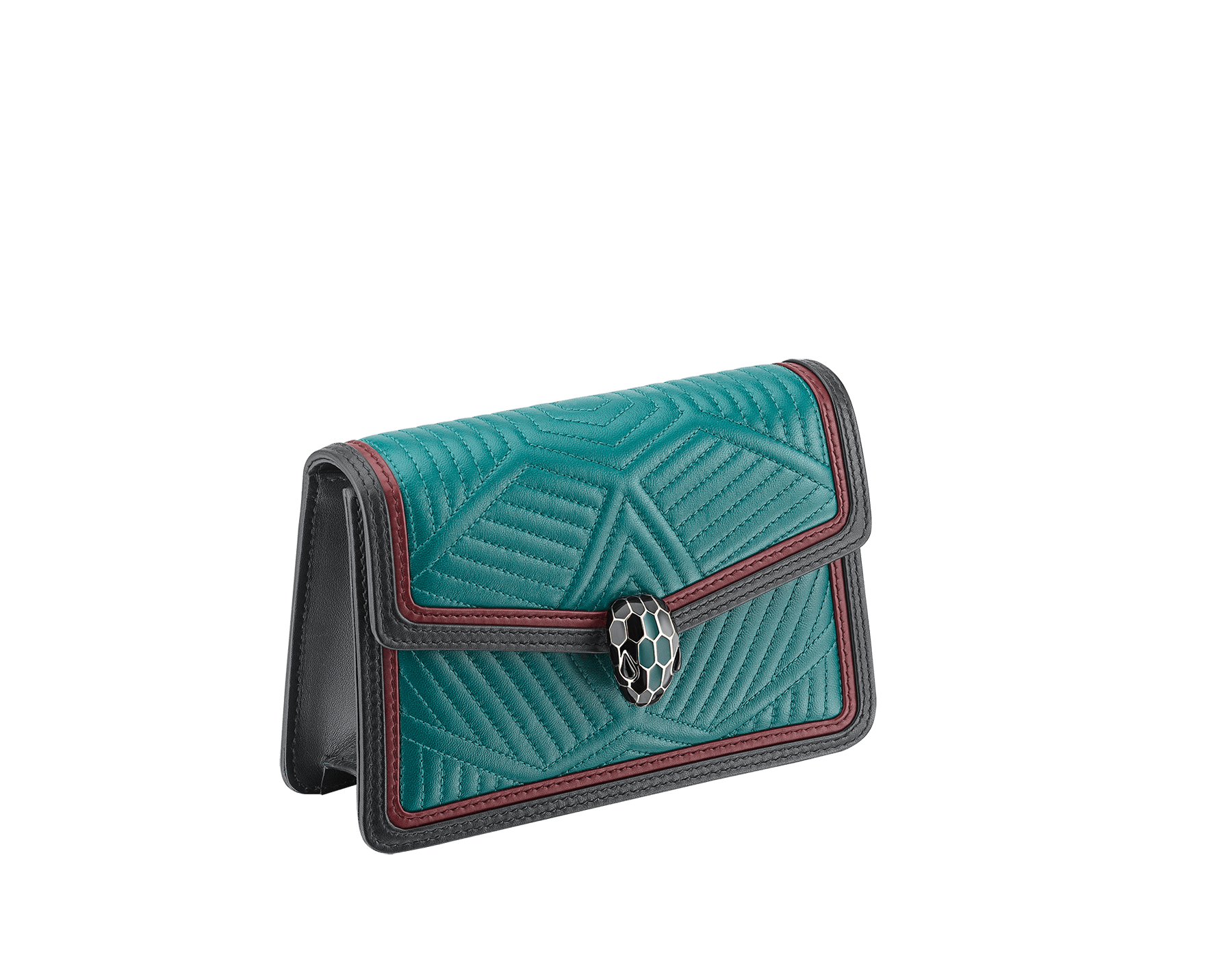 """Serpenti Diamond Blast"" crossbody micro bag with white agate quilted nappa leather body and deep jade and black calf leather frames. Iconic snakehead closure in light gold-plated brass enriched with deep jade and black enamel and black onyx eyes. 987-FQD image 2"