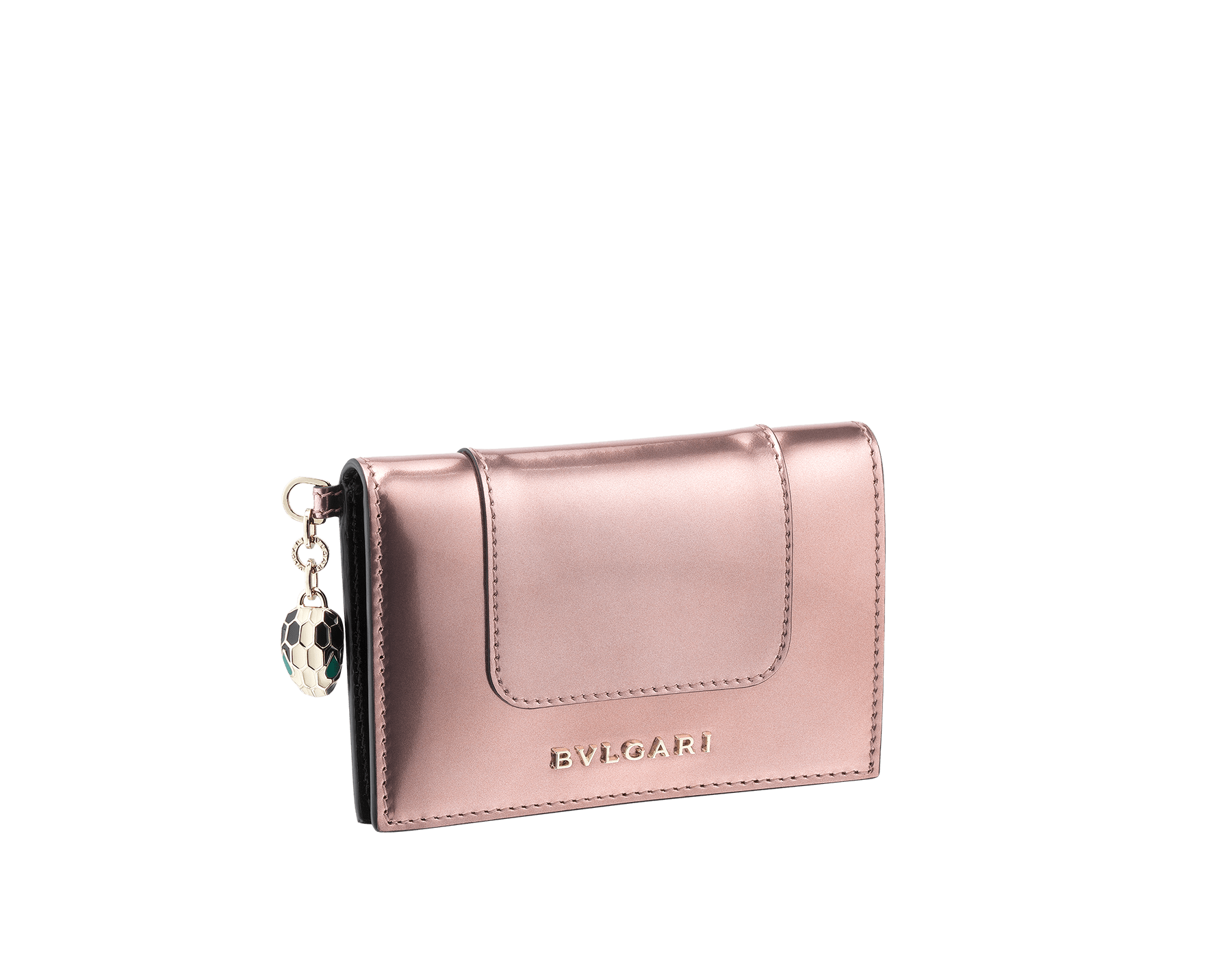 Folded credit card holder in rose quartz brushed metallic calf leather, with brass light gold plated hardware and stud closure. Serpenti head charm in black and white enamel, with green enamel eyes. 285418 image 1