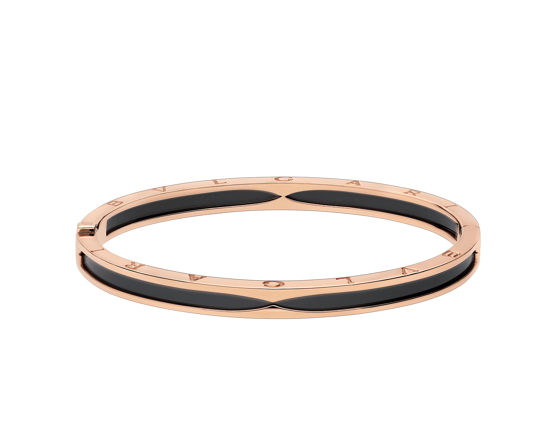 B.zero1 bangle bracelet in 18 kt rose gold with black ceramic. BR857618 image 2