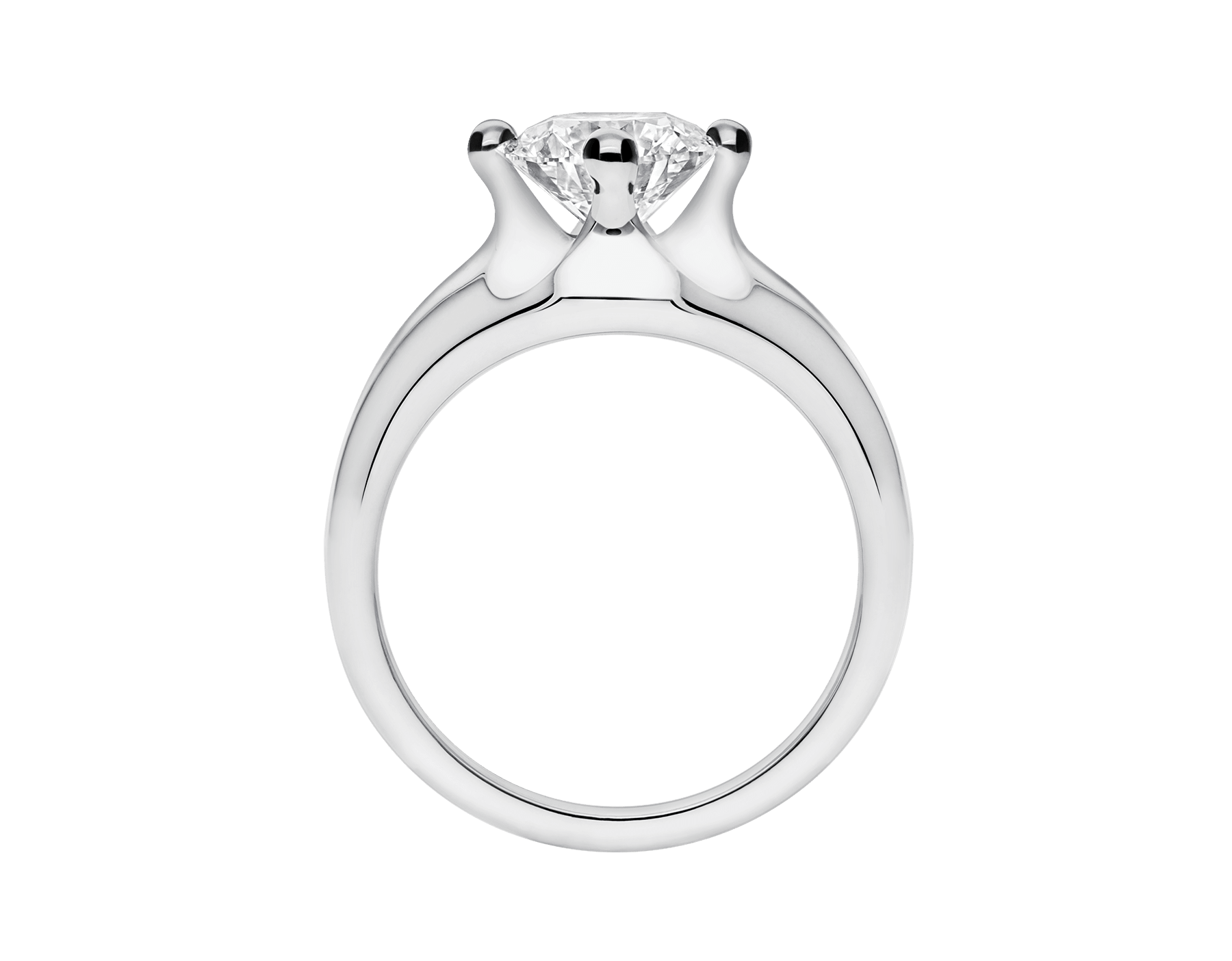 Corona platinum solitaire ring set with a round brilliant cut diamond 323743 image 4