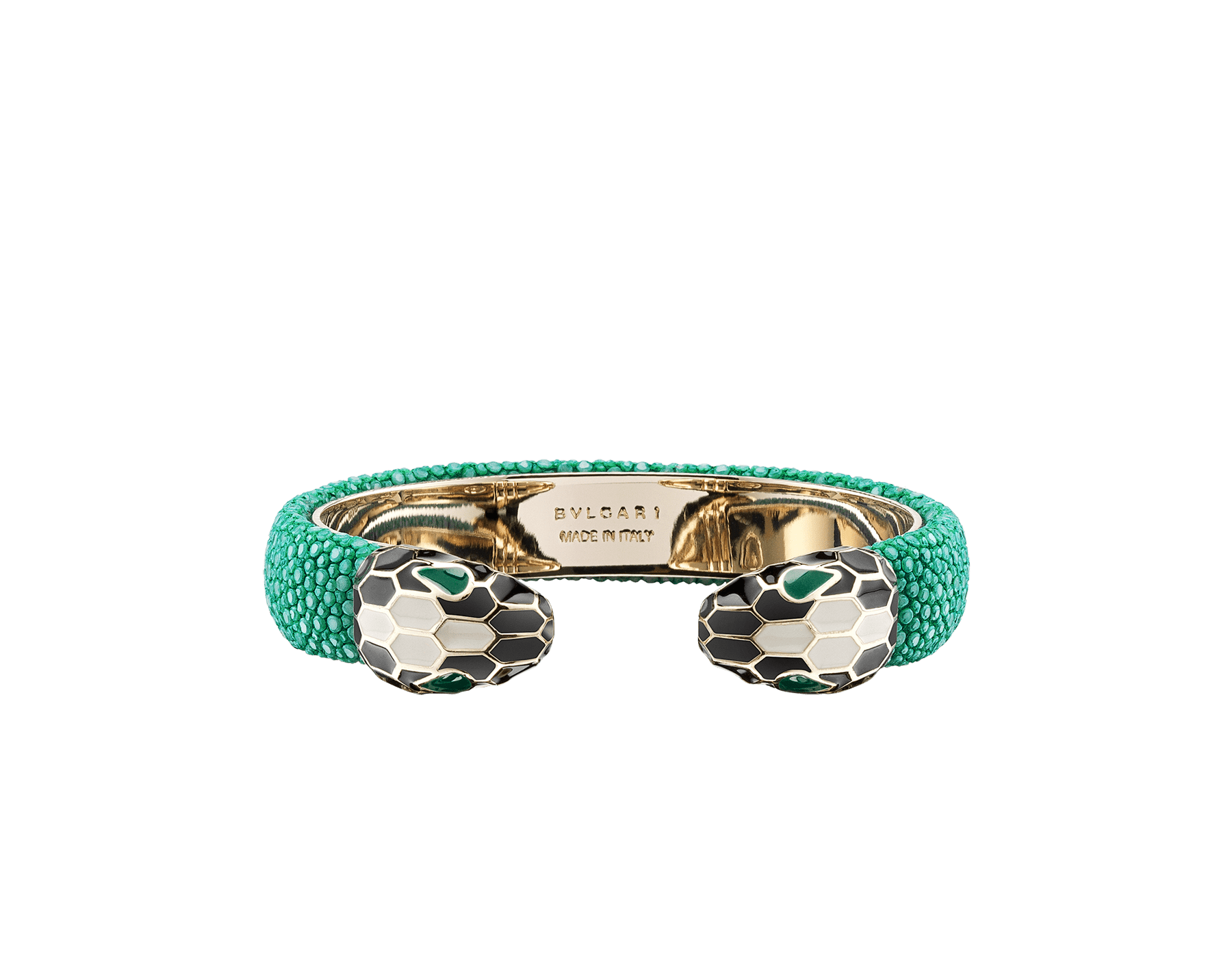 Bracelet in emerald green galuchat skin with iconic contraire brass light gold plated Serpenti heads motif in black and white enamel, with malachite enamel eyes. SerpBraid-WCL-GIFTBOX image 1