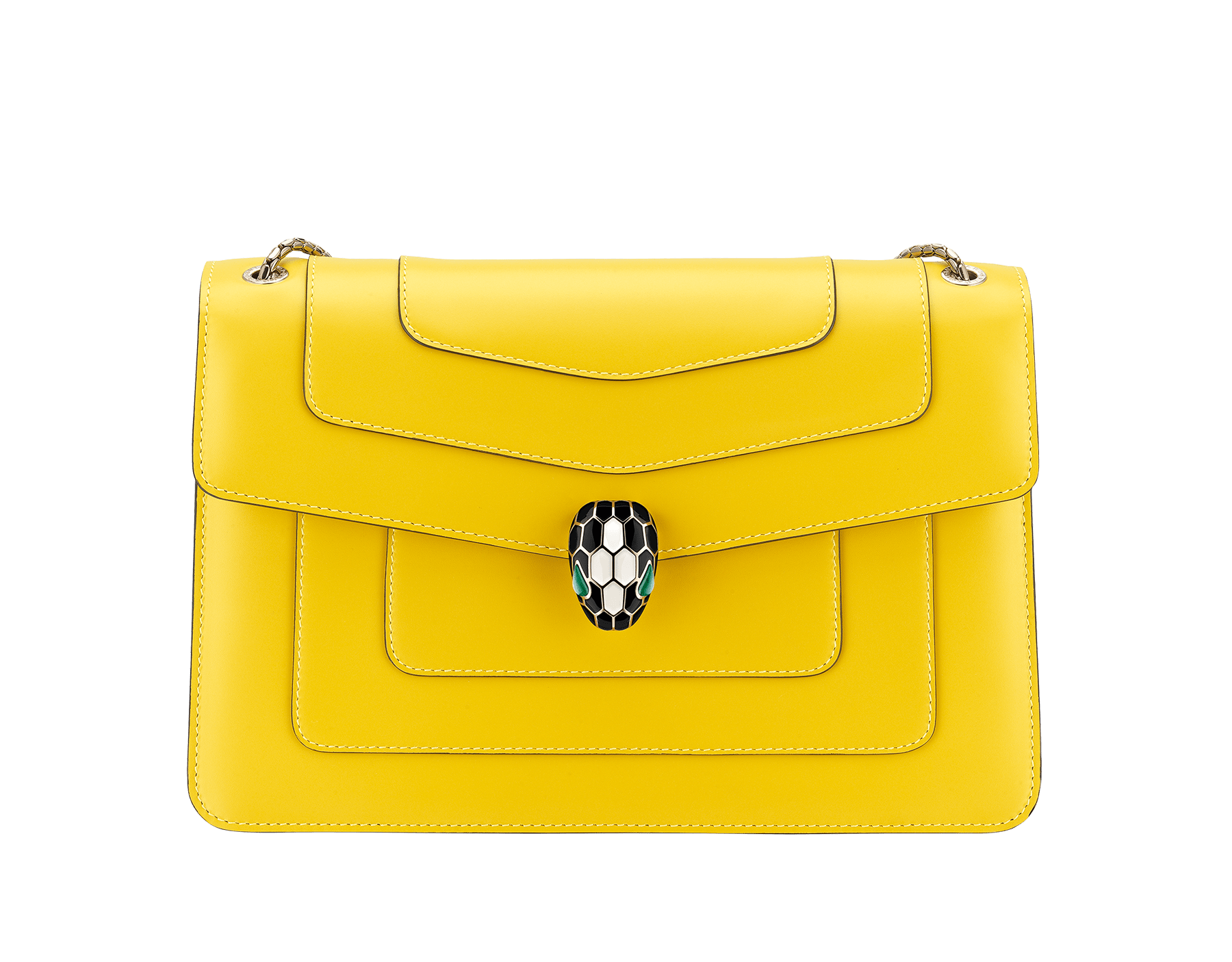 """Serpenti Forever"" shoulder bag in daisy topaz calf leather. Iconic snake head closure in light gold-plated brass enriched with black and white enamel and green malachite eyes. 290191 image 1"