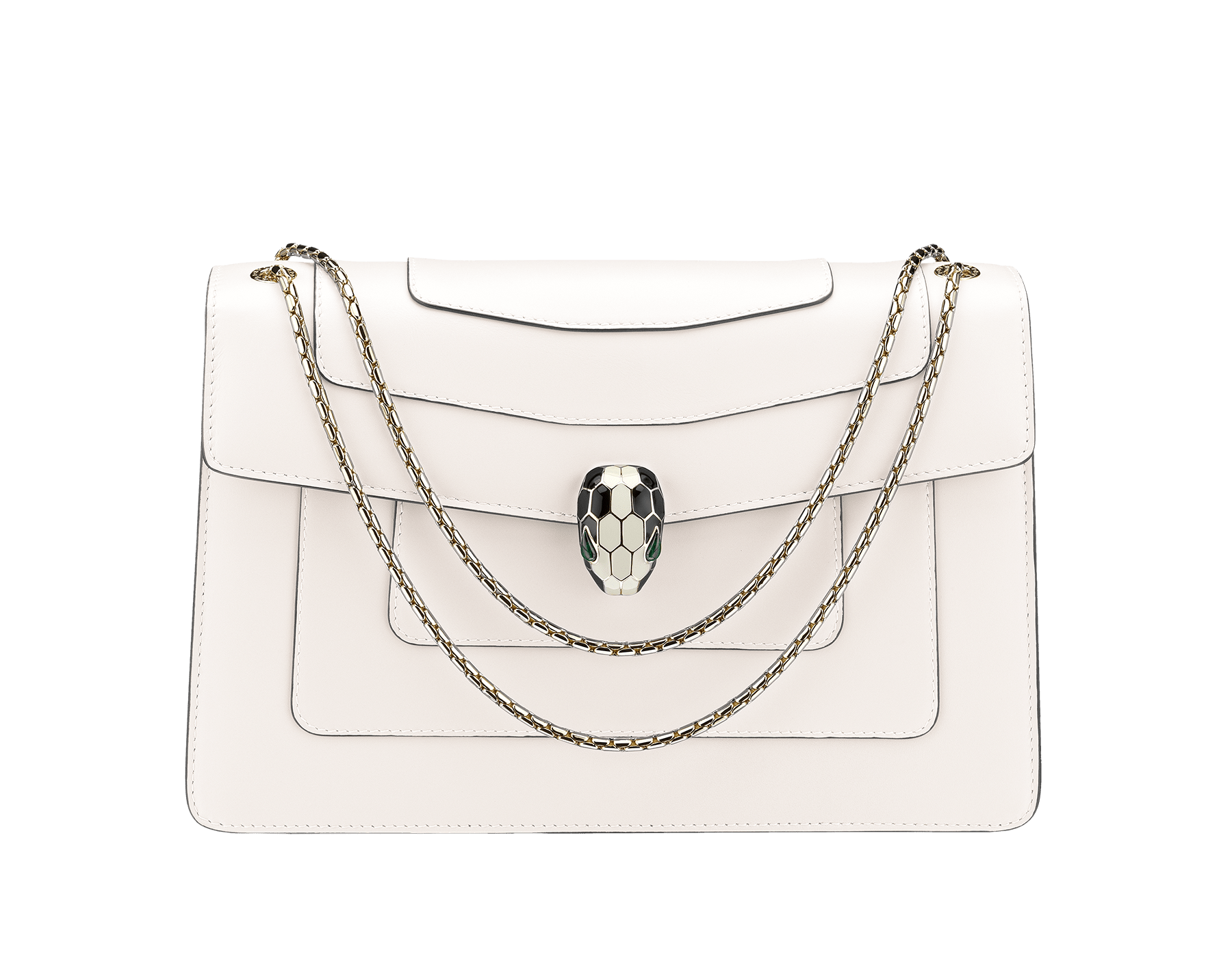 Flap cover bag Serpenti Forever in white agate calf leather. Brass light gold plated snake head closure in black and white enamel with eyes in green malachite. 283170 image 1