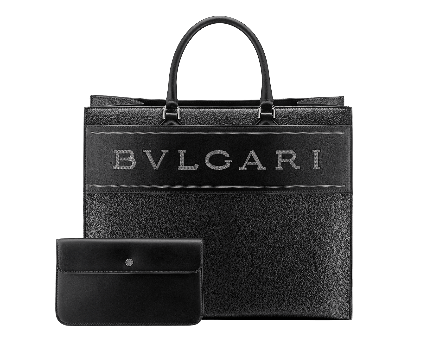 """Bvlgari Logo"" large tote bag in black calf leather, with black grosgrain inner lining. Bvlgari logo featured with dark ruthenium-plated brass chain inserts on the black calf leather. BVL-1160 image 4"