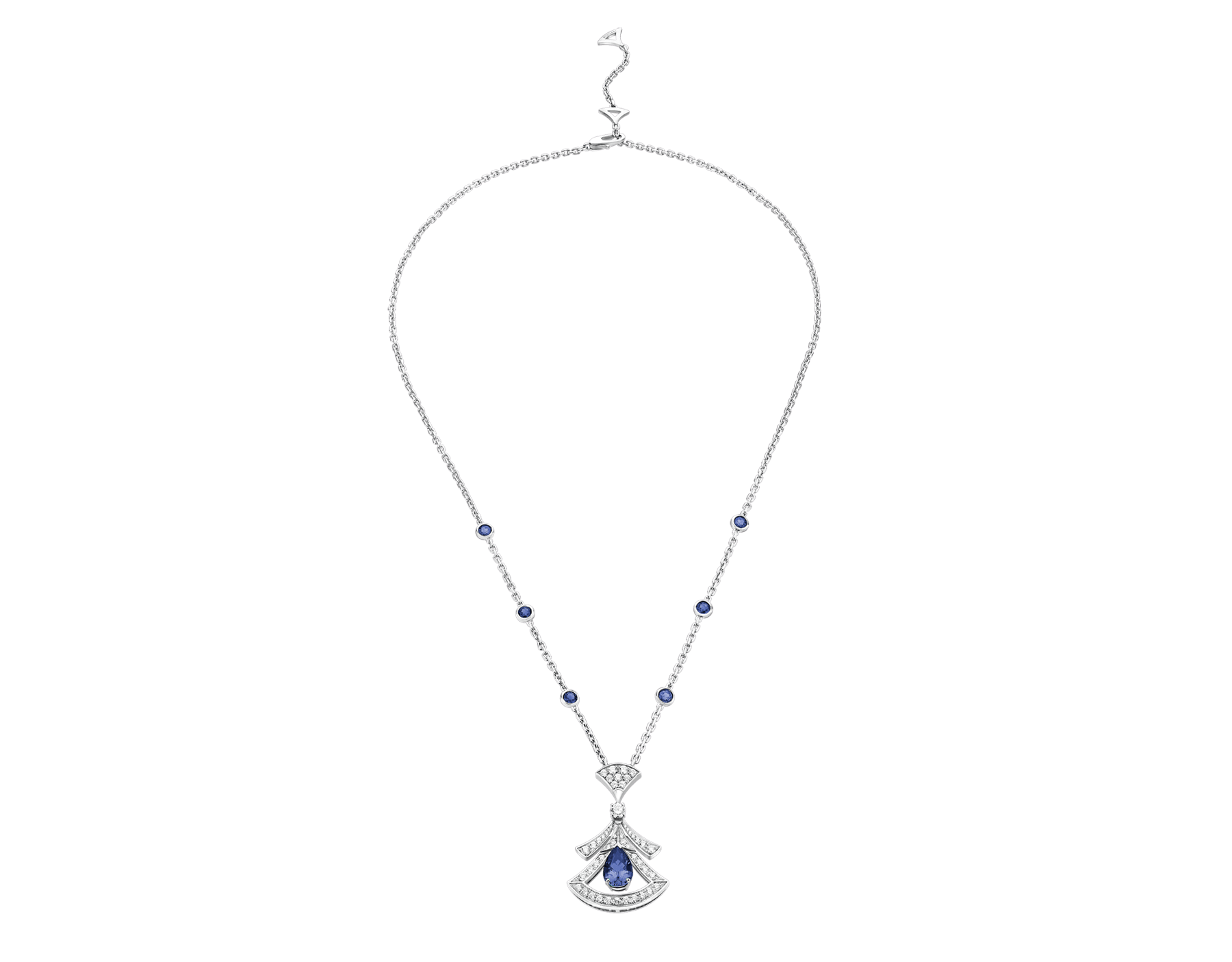 DIVAS' DREAM 18 kt white gold openwork necklace set with a pear-shaped sapphire, round brilliant-cut sapphires, a round brilliant-cut diamond and pavé diamonds. 357325 image 2
