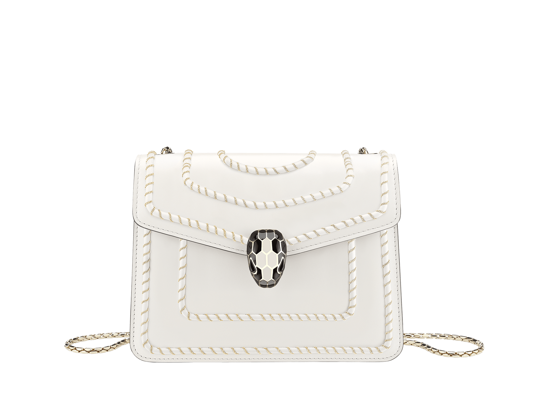 """""""Serpenti Forever"""" crossbody bag in black calf leather, featuring a Woven Chain motif. Iconic snakehead closure in light gold plated brass enriched with shiny black enamel and black onyx eyes 422-WC image 1"""