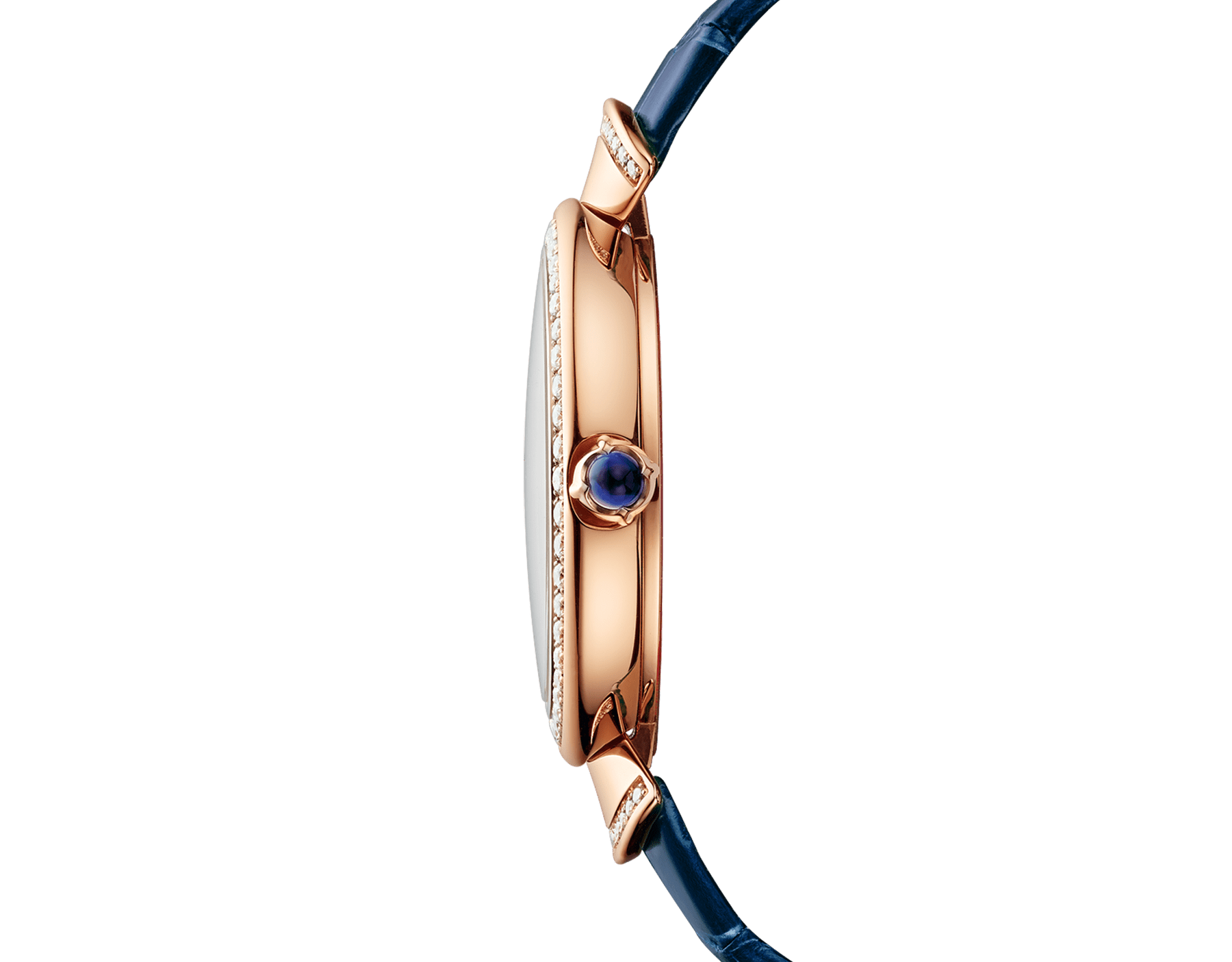 DIVAS' DREAM watch with 18 kt rose gold case set with brilliant-cut diamonds, mother-of-pearl dial with hand-painted peacock set with diamonds and dark blue alligator bracelet 102741 image 3