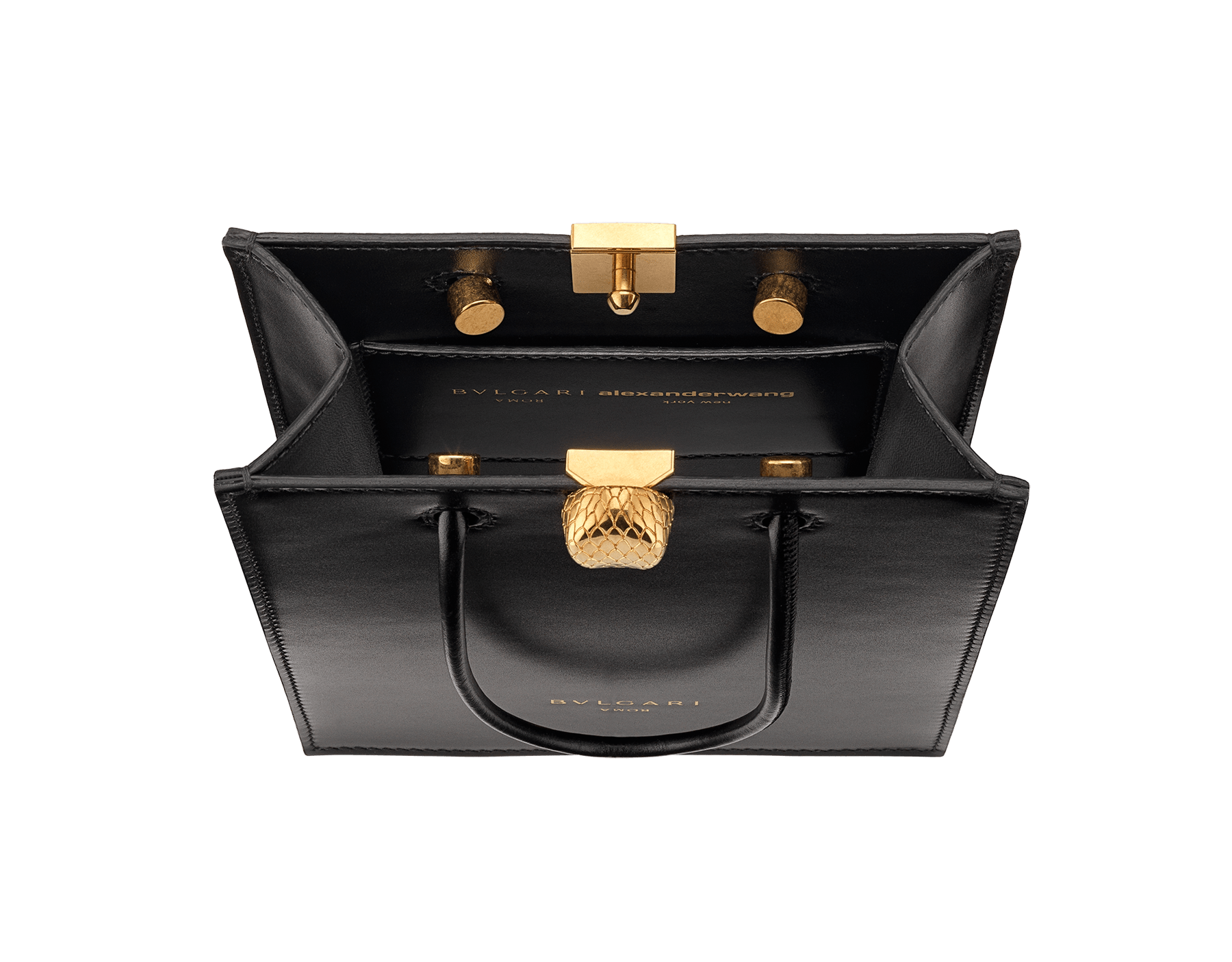 Alexander Wang x Bvlgari mini shopping tote bag in black smooth calf leather. New Serpenti head closure in antique gold plated brass with tempting red enamel eyes. Limited edition. 288726 image 4