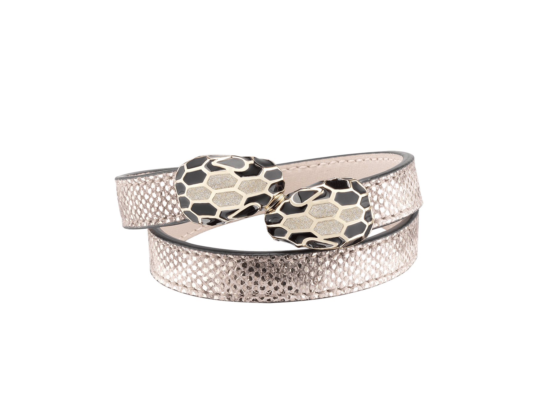 Serpenti Forever multi-coiled bracelet in milky opal metallic karung skin, with brass light gold plated hardware. Iconic contraire snakehead décor in black and glitter milky opal enamel, with black enamel eyes. MCSerp-MK-MO image 1