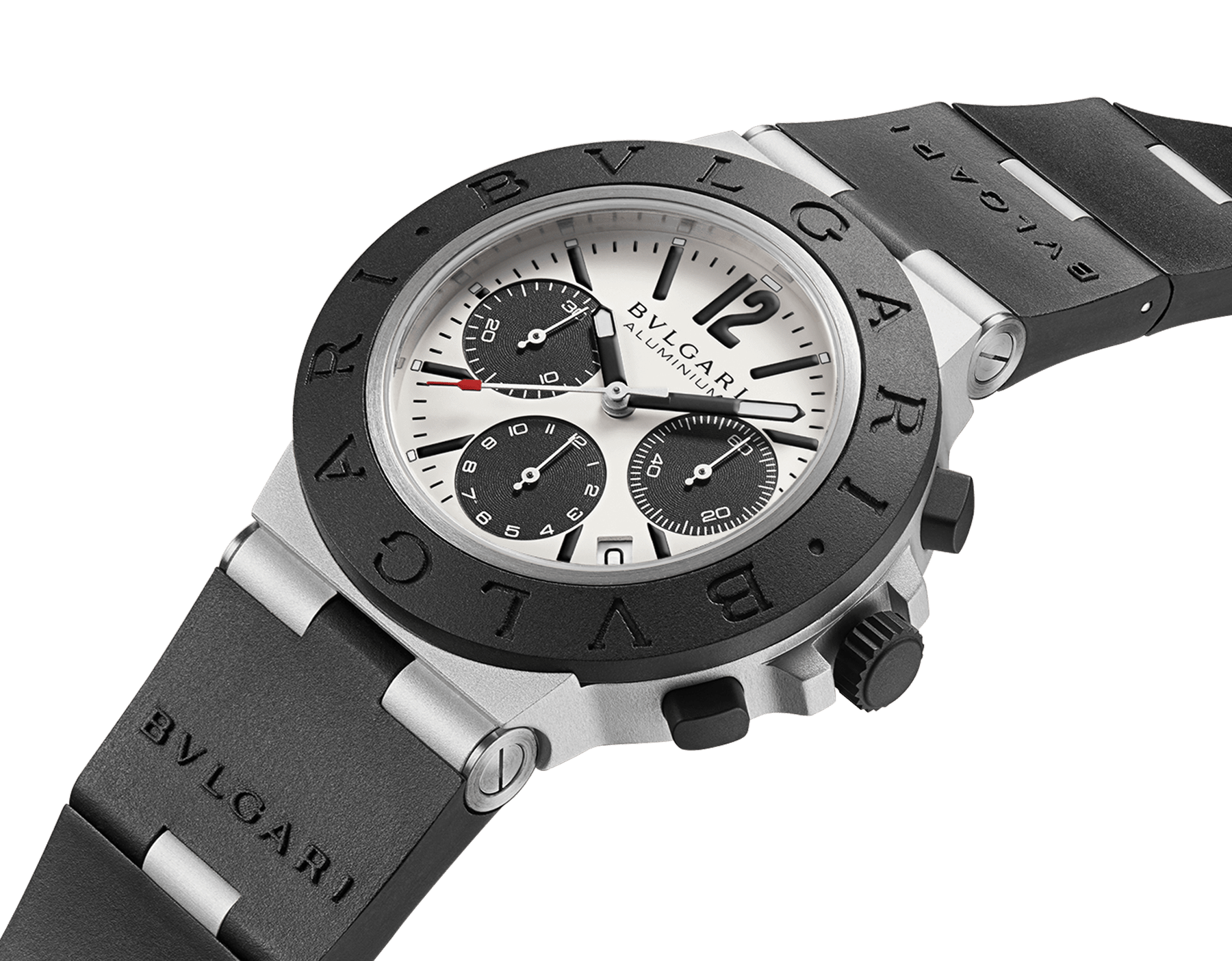 Bvlgari Aluminium watch with mechanical manufacture movement, automatic winding, chronograph, 40 mm aluminium and titanium case, black rubber bezel with BVLGARI BVLGARI engraving, grey dial and black rubber bracelet. Water resistant up to 100 metres 103383 image 2