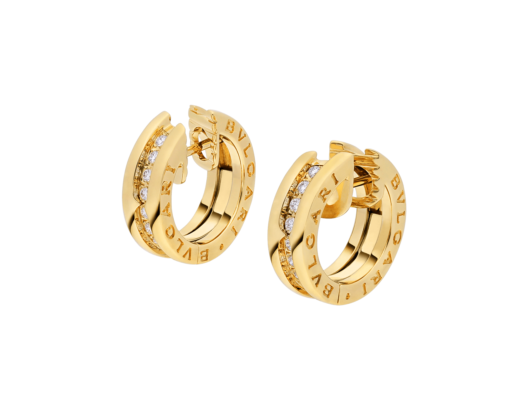 B.zero1 small hoop earrings in 18 kt yellow gold set with pavé diamonds on the spiral 357495 image 2