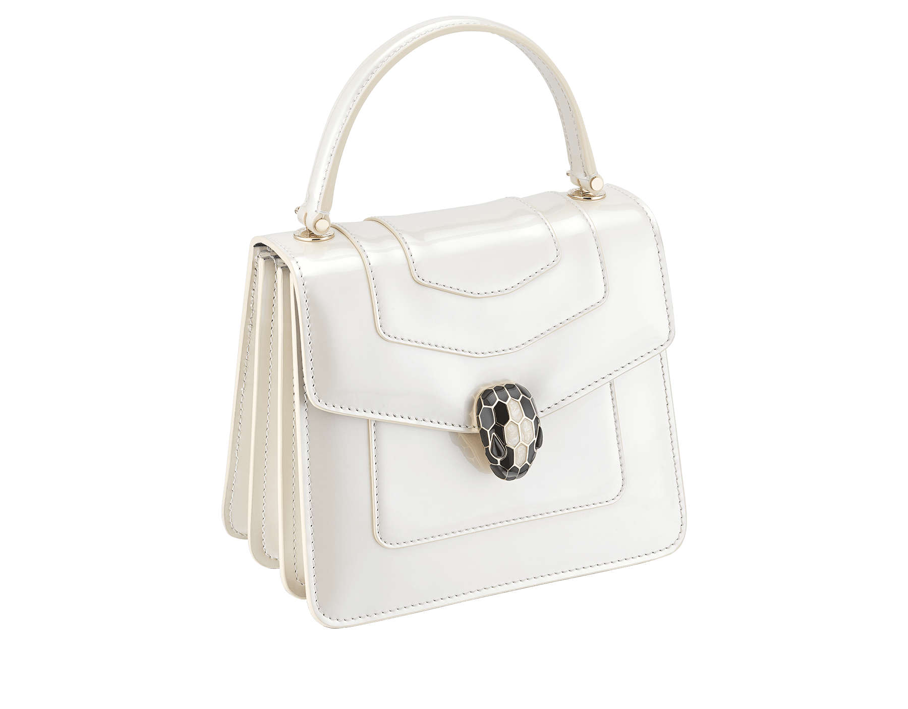 """""""Serpenti Forever """" crossbody bag in white agate leather with a varnished and pearled effect. Iconic snake head closure in light gold plated brass enriched with black and pearled white agate enamel, and black onyx eyes 752-CLd image 2"""
