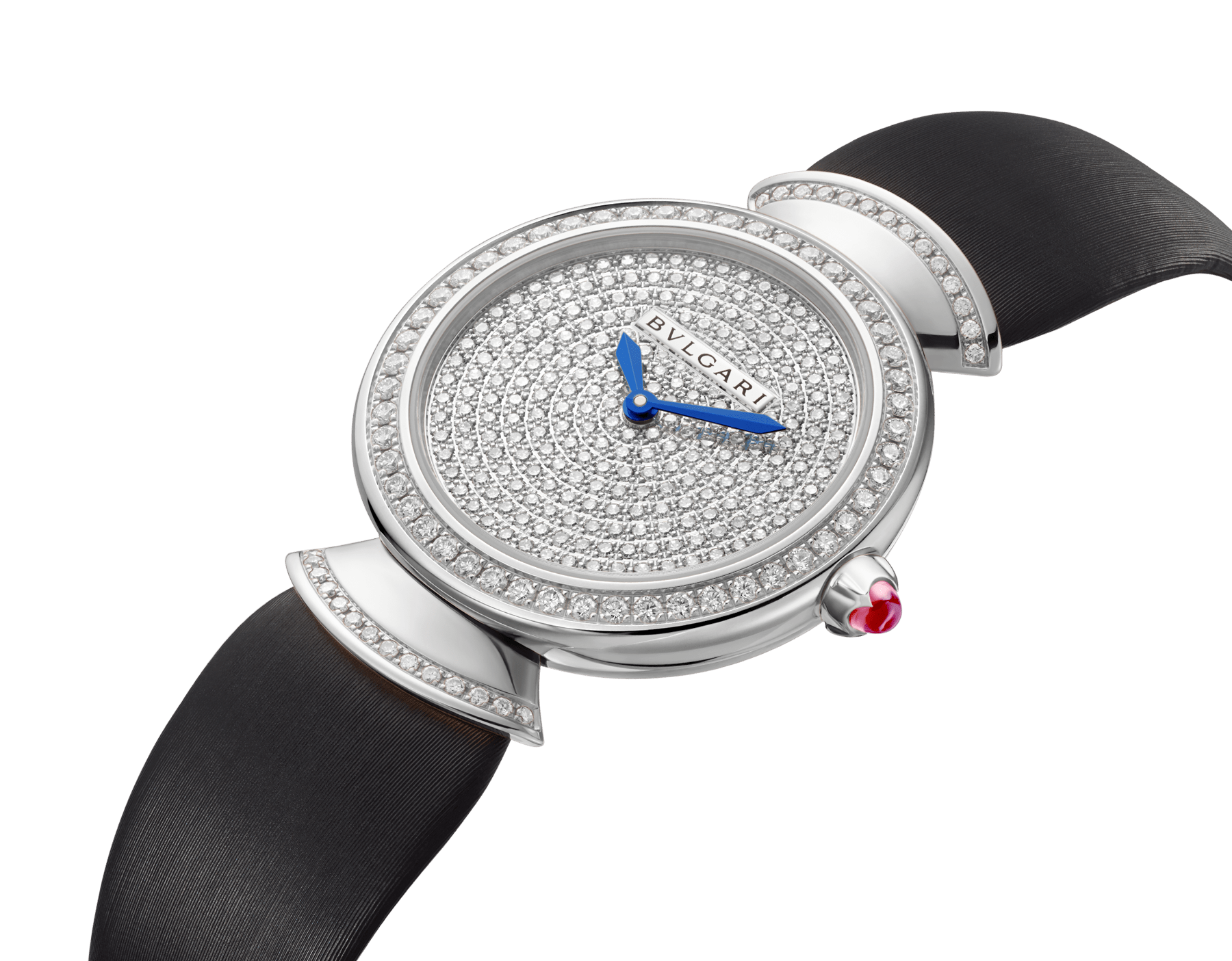 DIVAS' DREAM watch with 18 kt white gold case set with brilliant-cut diamonds, diamond-pavé dial and black satin bracelet 102561 image 2