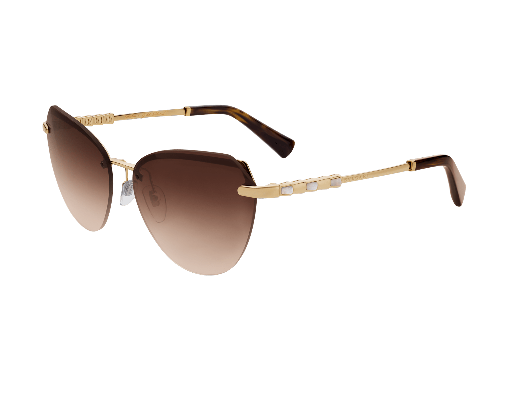 Bulgari Le Gemme Serpenti gold plated cat-eye sunglasses with mother-of-pearl inserts. 903906 image 1