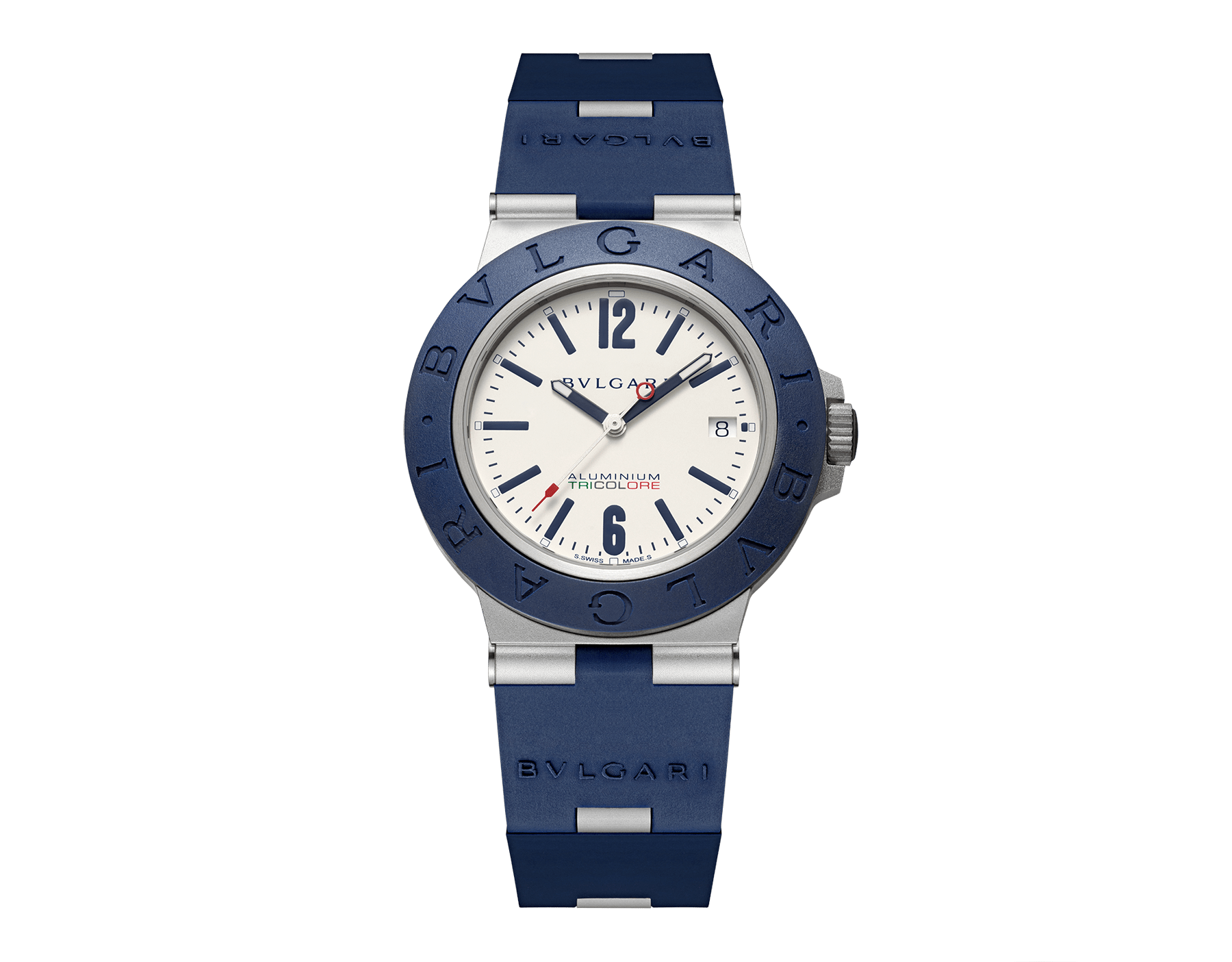 Bvlgari Aluminium Tricolore watch with mechanical movement, automatic winding and date, 40 mm aluminum and titanium case, blue rubber bezel with BVLGARI BVLGARI engraving, warm gray dial with special TRICOLORE logo, and blue rubber bracelet. Water-resistant up to 100 meters. Limited Edition 103514 image 1
