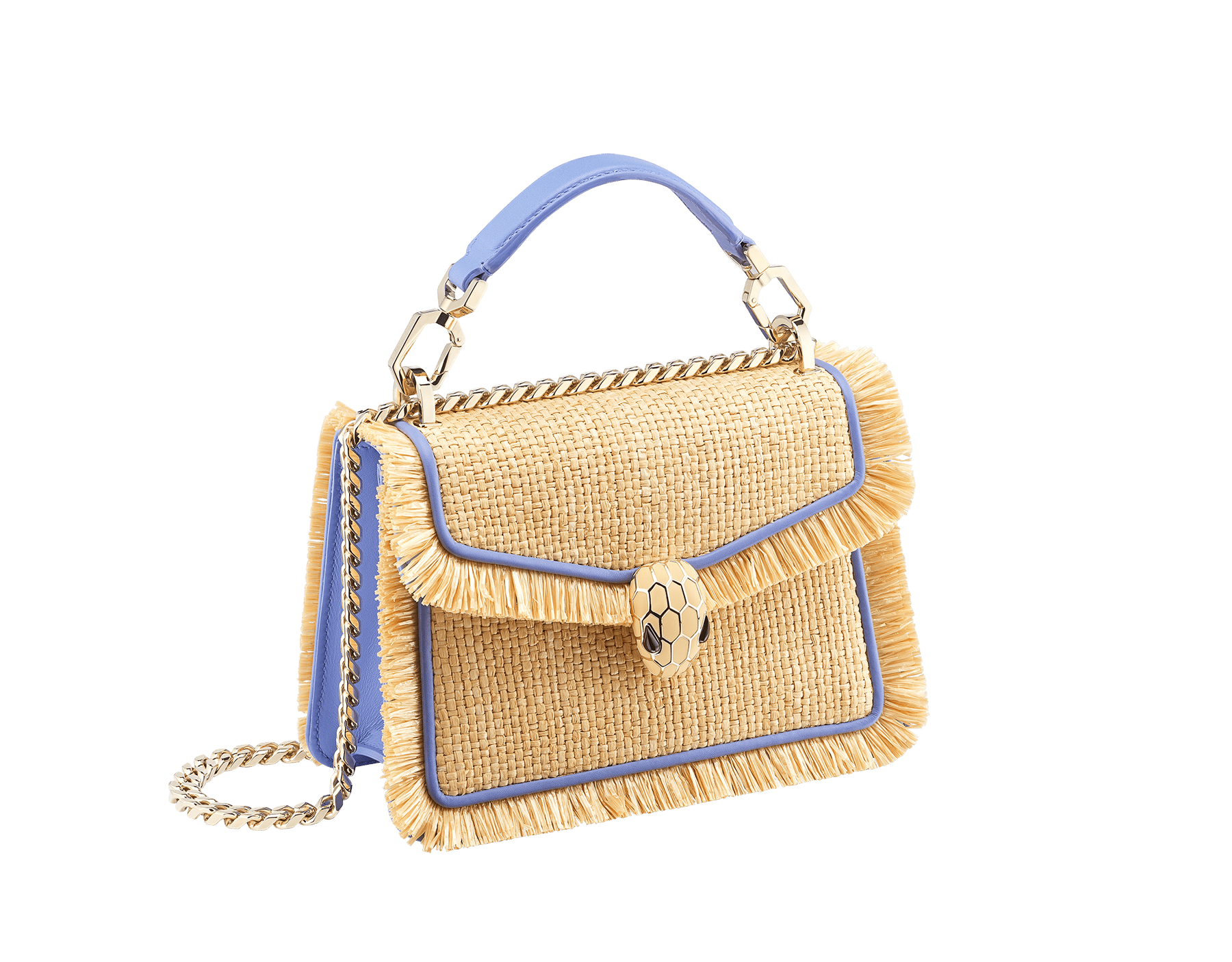 """""""Serpenti Diamond Blast"""" crossbody bag in beige raffia and Lavender Amethyst lilac calfskin frames finished with beige raffia fringes, and Lavender Amethyst lilac nappa leather internal lining. Alluring snakehead closure in light gold-plated brass, enhanced with full matte Natural beige enamel and black onyx eyes. 290907 image 2"""