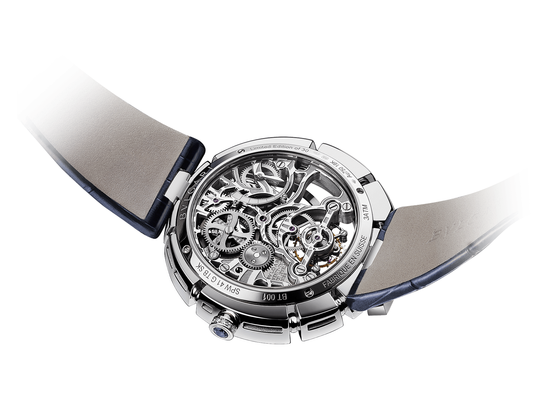 Serpenti Incantati Limited Edition watch with mechanical manufacture skeletonized movement, tourbillon and manual winding. 18 kt white gold case set with brilliant cut diamonds, transparent dial and blue alligator bracelet. 102541 image 3