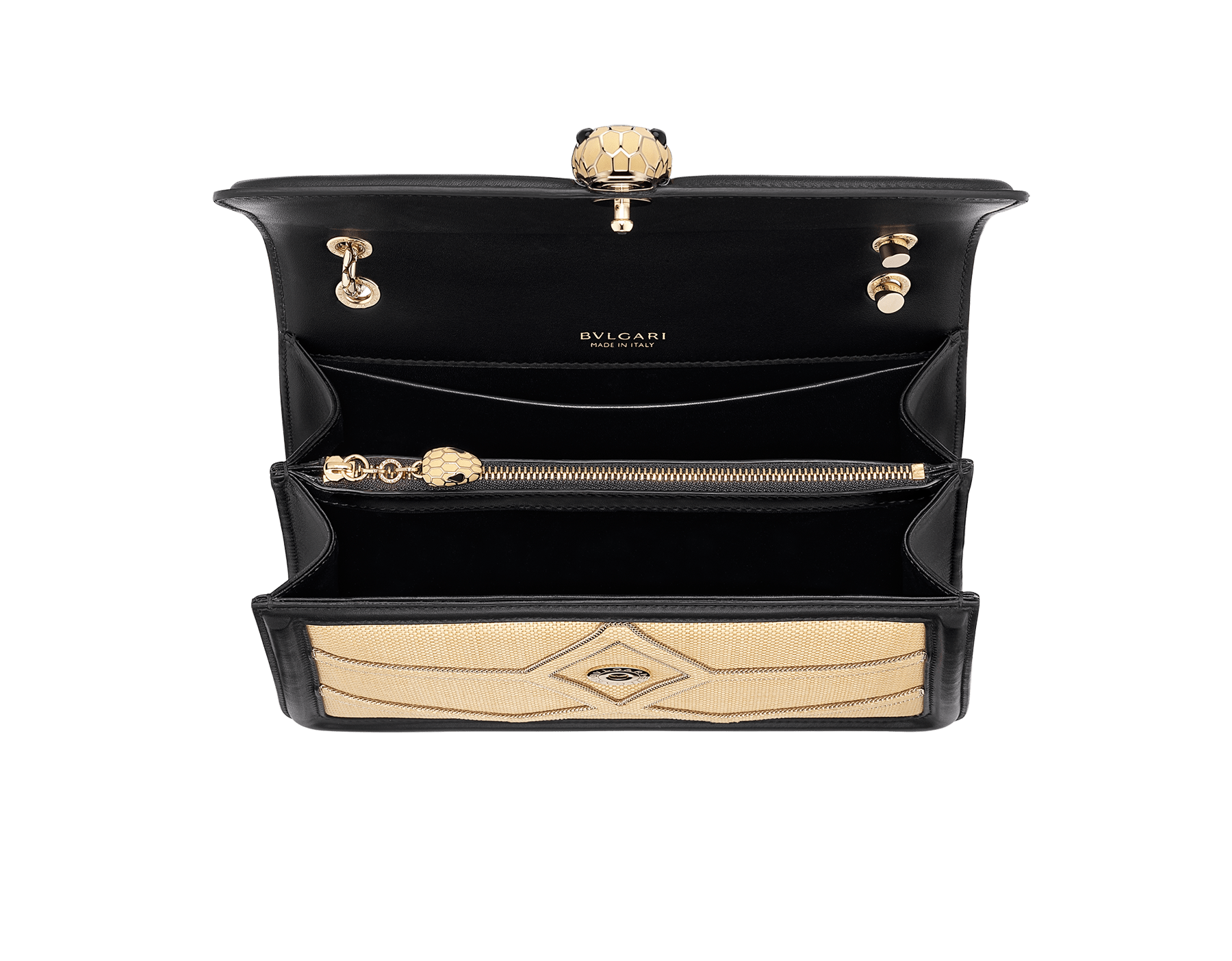"""""""Serpenti Forever """" shoulder bag in beige raffia and black nappa leather internal lining. Alluring light gold-plated brass snakehead closure enhanced with full matte Natural beige enamel and black onyx eyes. 290904 image 4"""