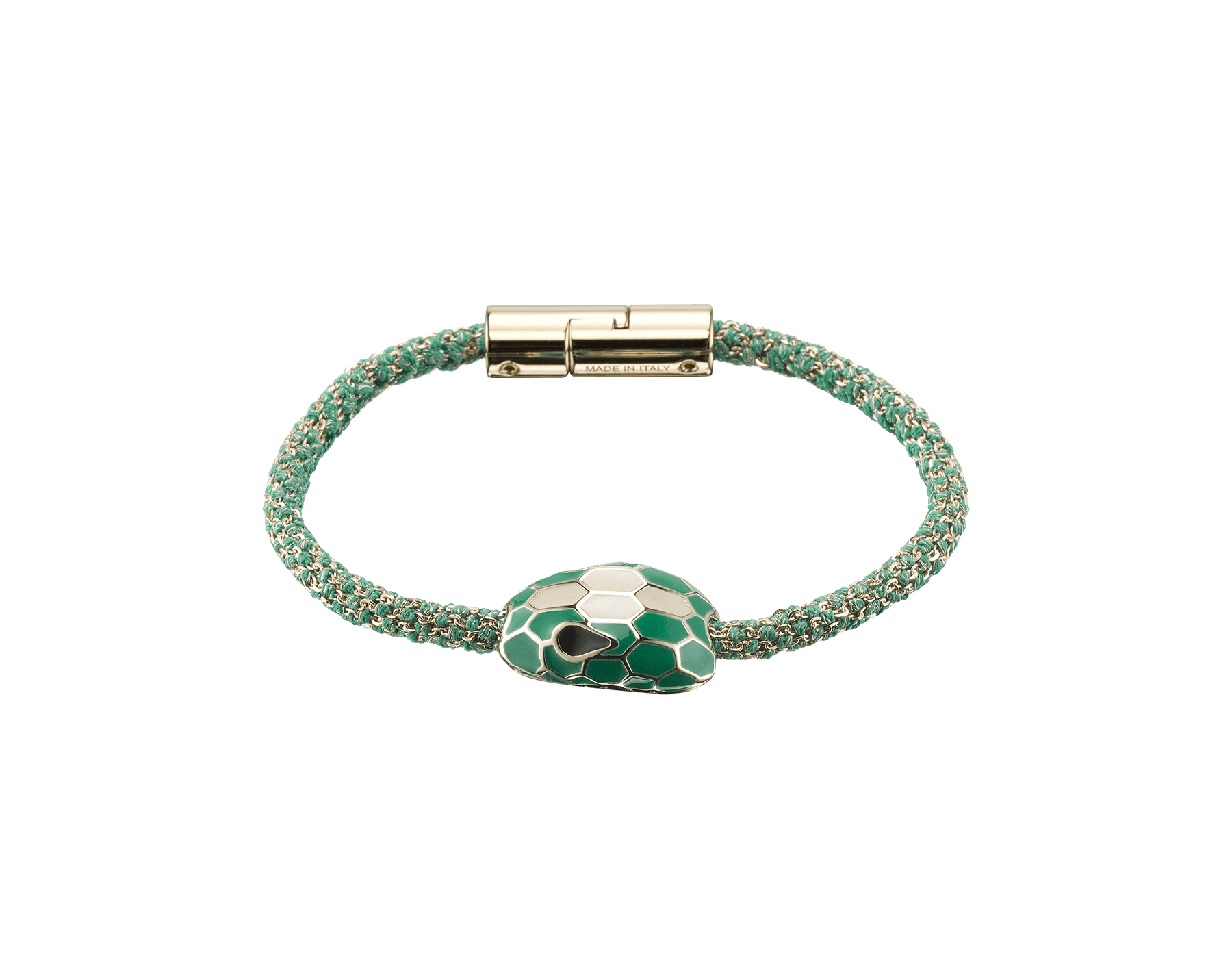 Serpenti Forever bracelet in emerald green metallic woven silk with an iconic snake head décor in white and emerald green enamel. RollingChain-S-EG image 2