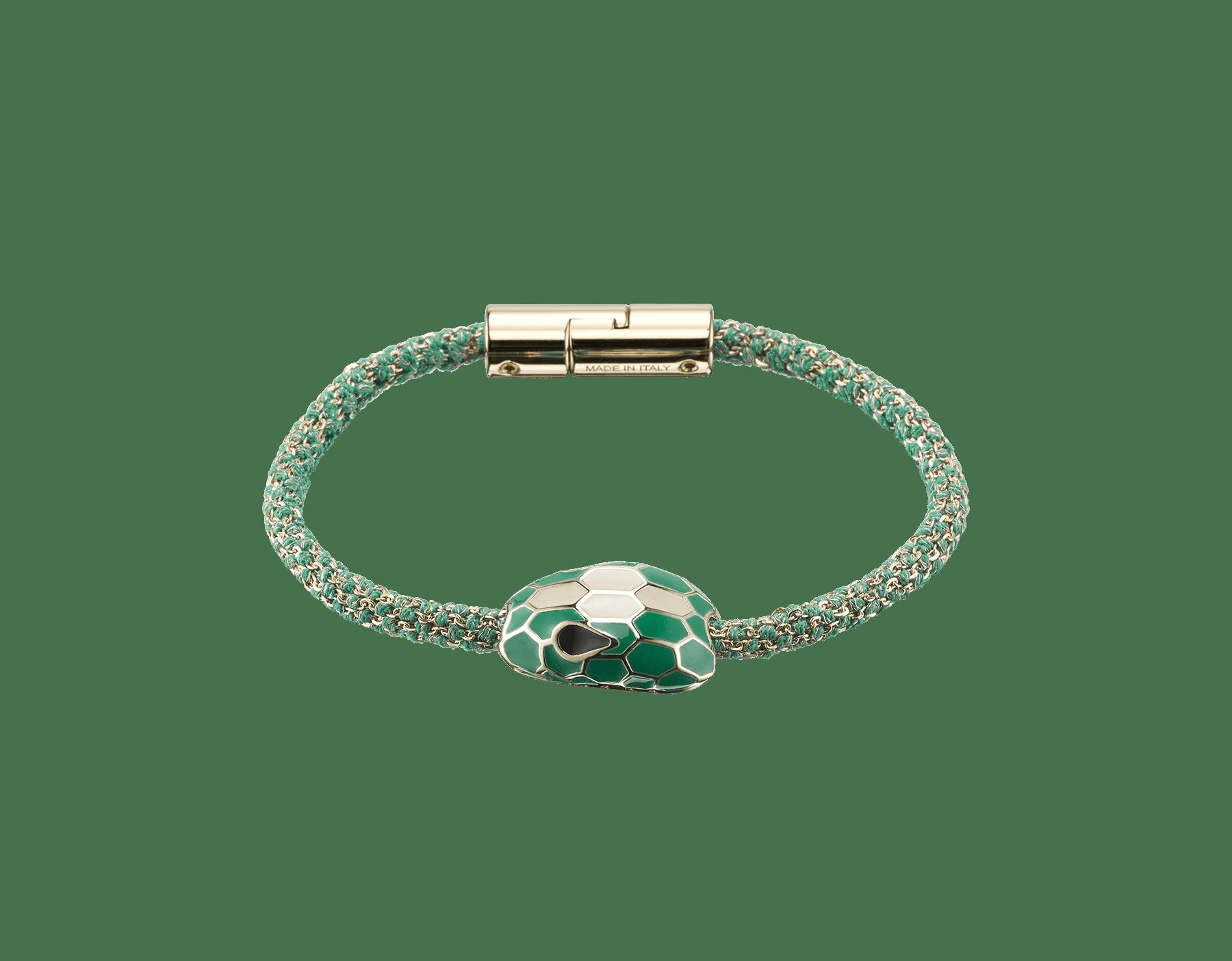 Bracelet Serpenti Forever en soie tressée métallisée couleur vert émeraude avec motif Serpenti emblématique en émail blanc et vert émeraude. RollingChain-S-EG image 1
