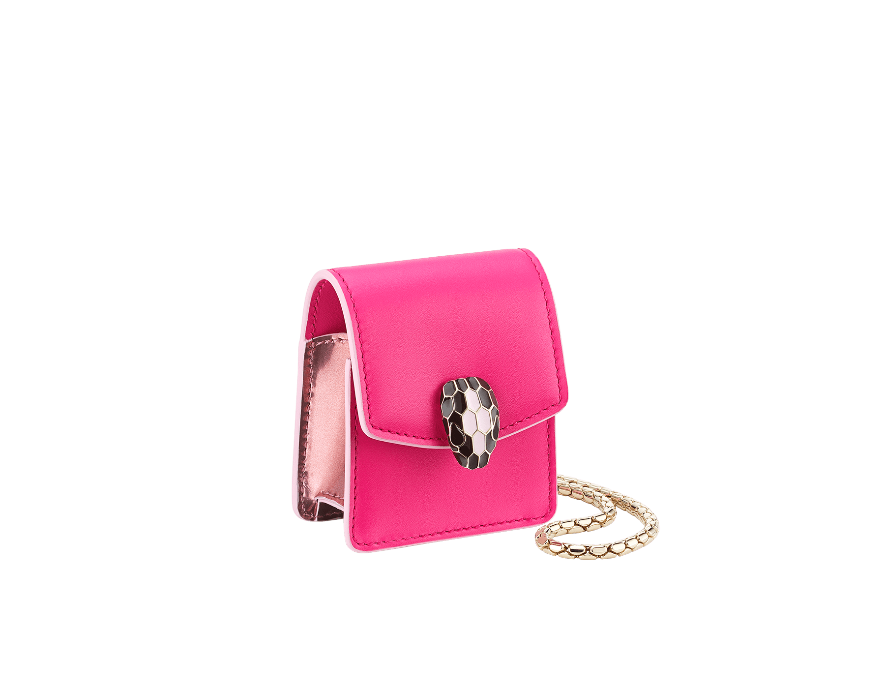 Serpenti Forever Holiday Edition AirPods holder in flash amethyst calf leather and rose quartz brushed metallic calf leather. Snakehead closure in light gold plated brass embellished with black and sakura pink enamel, and black onyx eyes. 289480 image 1