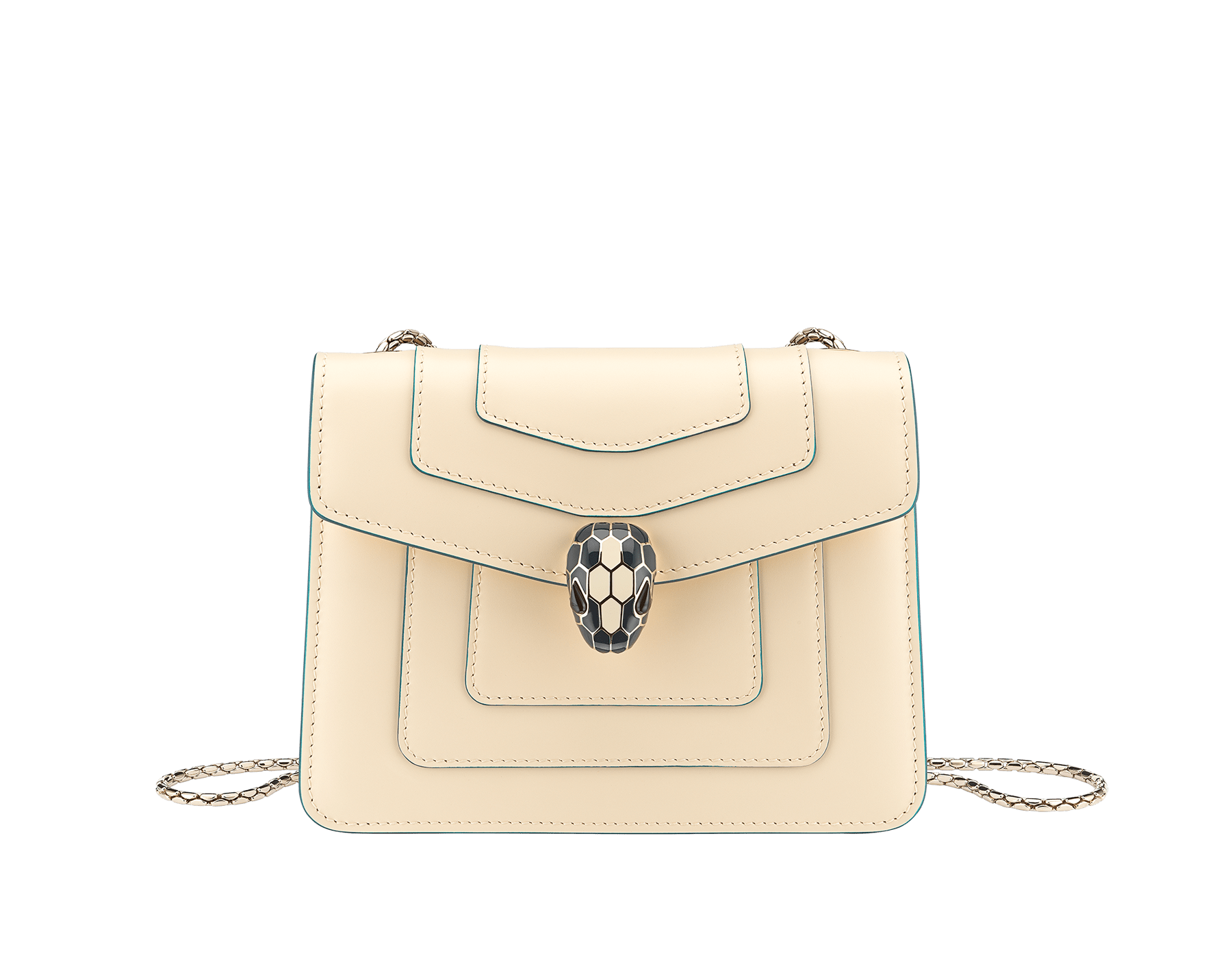 """""""Serpenti Forever"""" crossbody bag in peach calf leather with Pink Spinel fuchsia grosgrain inner lining. Iconic snakehead closure in light gold-plated brass enriched with black and white agate enamel and green malachite eyes. 422-CLb image 1"""