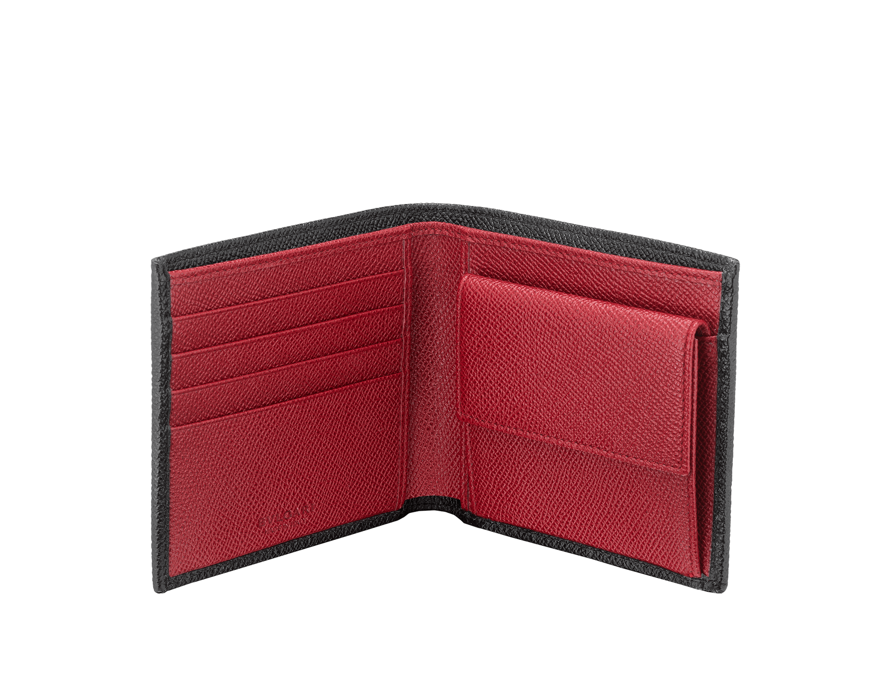 BVLGARI BVLGARI man wallet in black and ruby dahlia grain calf leather and black nappa lining. Iconic logo décor in palladium plated brass. 288273 image 2