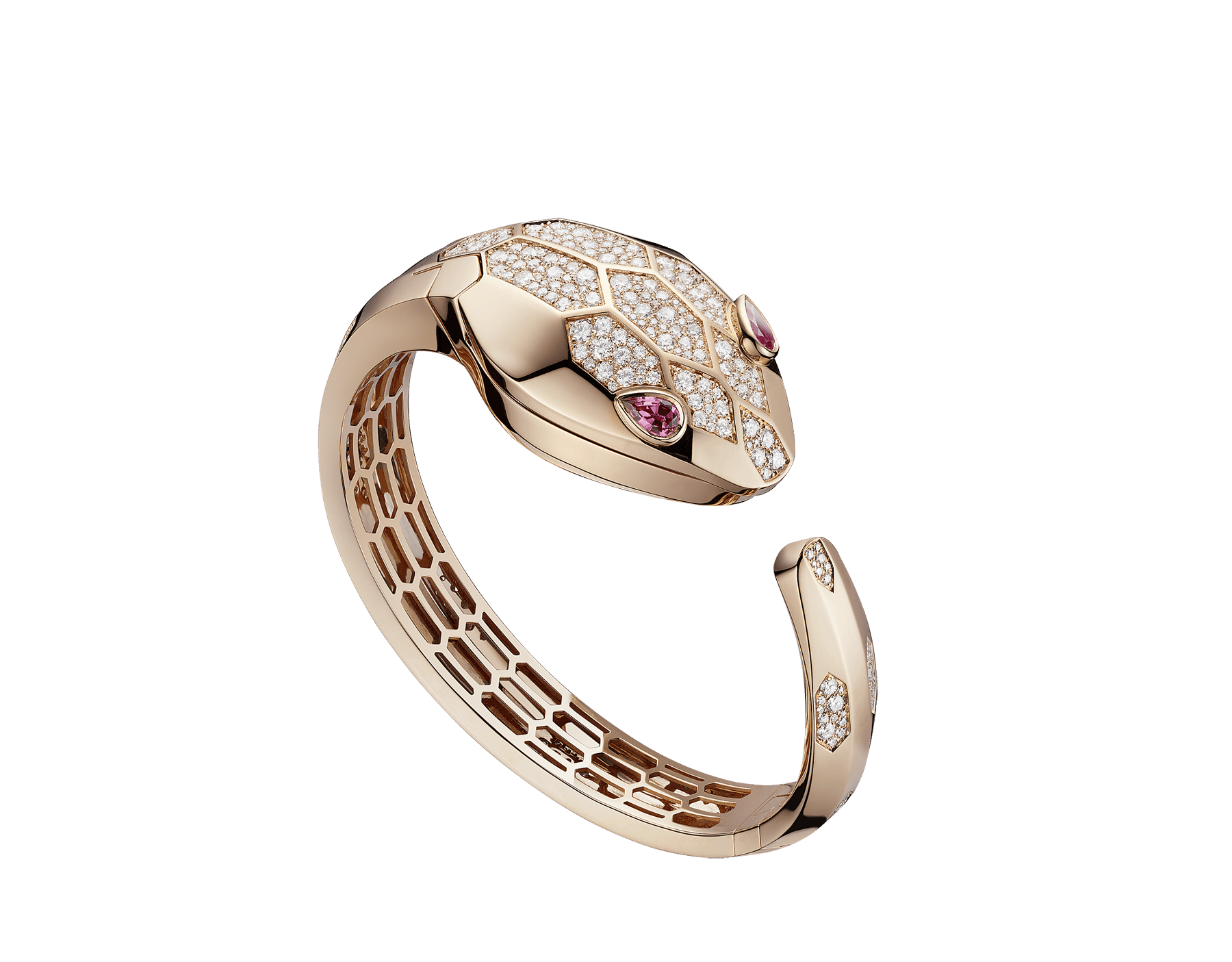 Serpenti Misteriosi Secret Watch in 18 kt rose gold case and bangle bracelet both set with round brilliant-cut diamonds, 18 kt rose gold diamond pavé dial and pear-shaped rubellite eyes. SrpntMister-SecretWtc-rose-gold2 image 6
