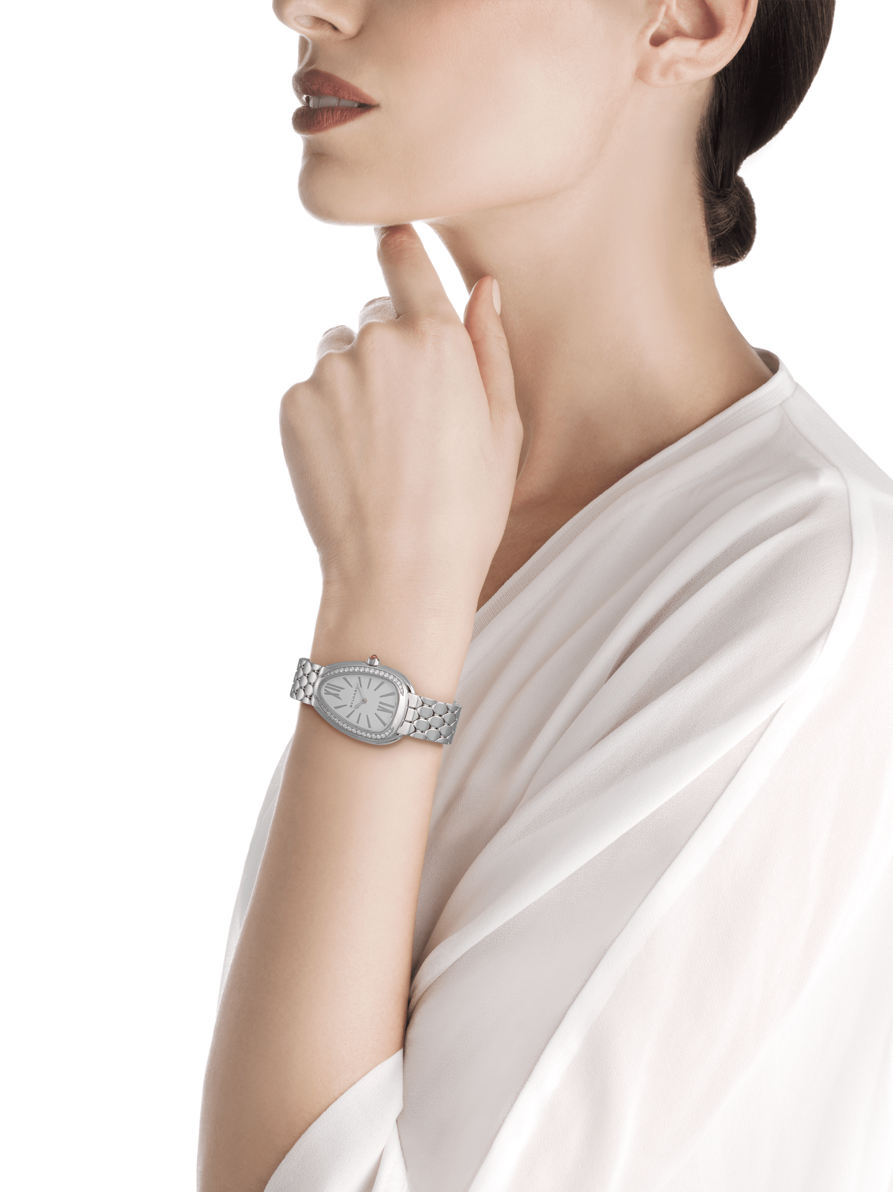 Serpenti Seduttori watch in stainless steel case and bracelet, stainless steel bezel set with diamonds and white silver opaline dial 103361 image 4