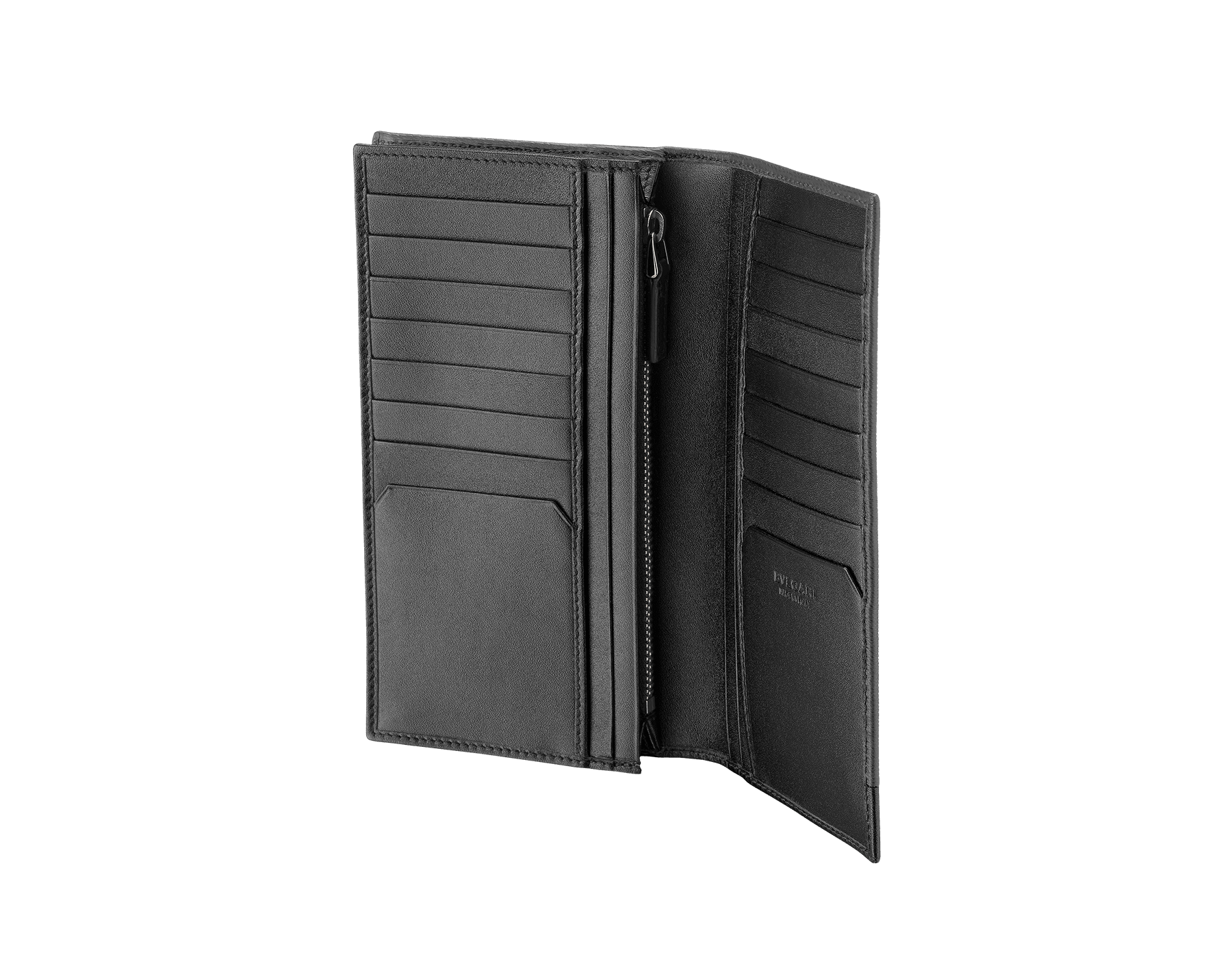 Wallet for yen in black grazed calf leather with brass and black calf leather. Bulgari logo on metal plate featuring the iconic Serpenti Scaglie Man motif. 284731 image 2