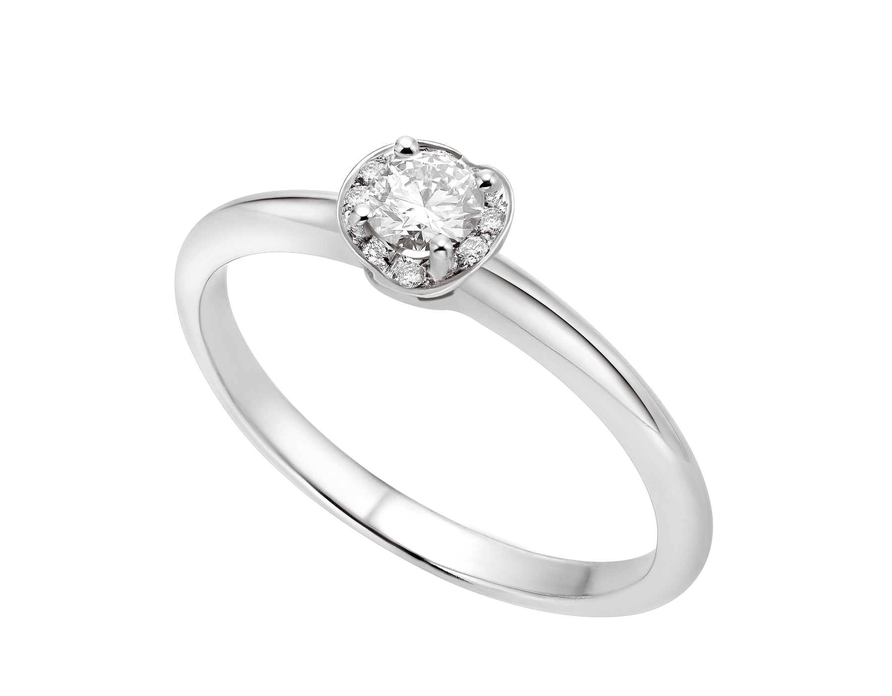 Incontro d'Amore platinum ring set with a round brilliant-cut diamond and a halo of pavé diamonds. 355363 image 1