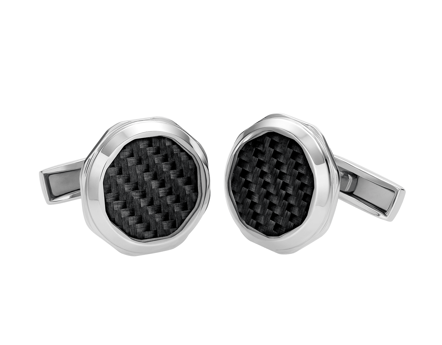 Octo sterling silver cufflinks set with carbon fibre 347971 image 1